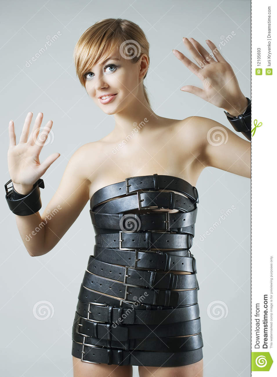 Dress Made From Leather Belts Stock Image Image Of Belt