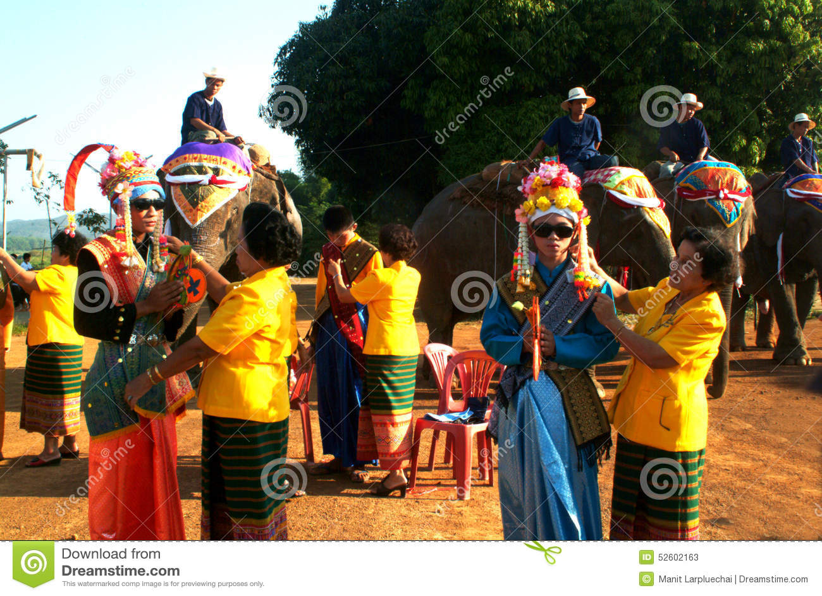 Dress of Novice in Si Satchanalai Elephant Back Ordination Proce