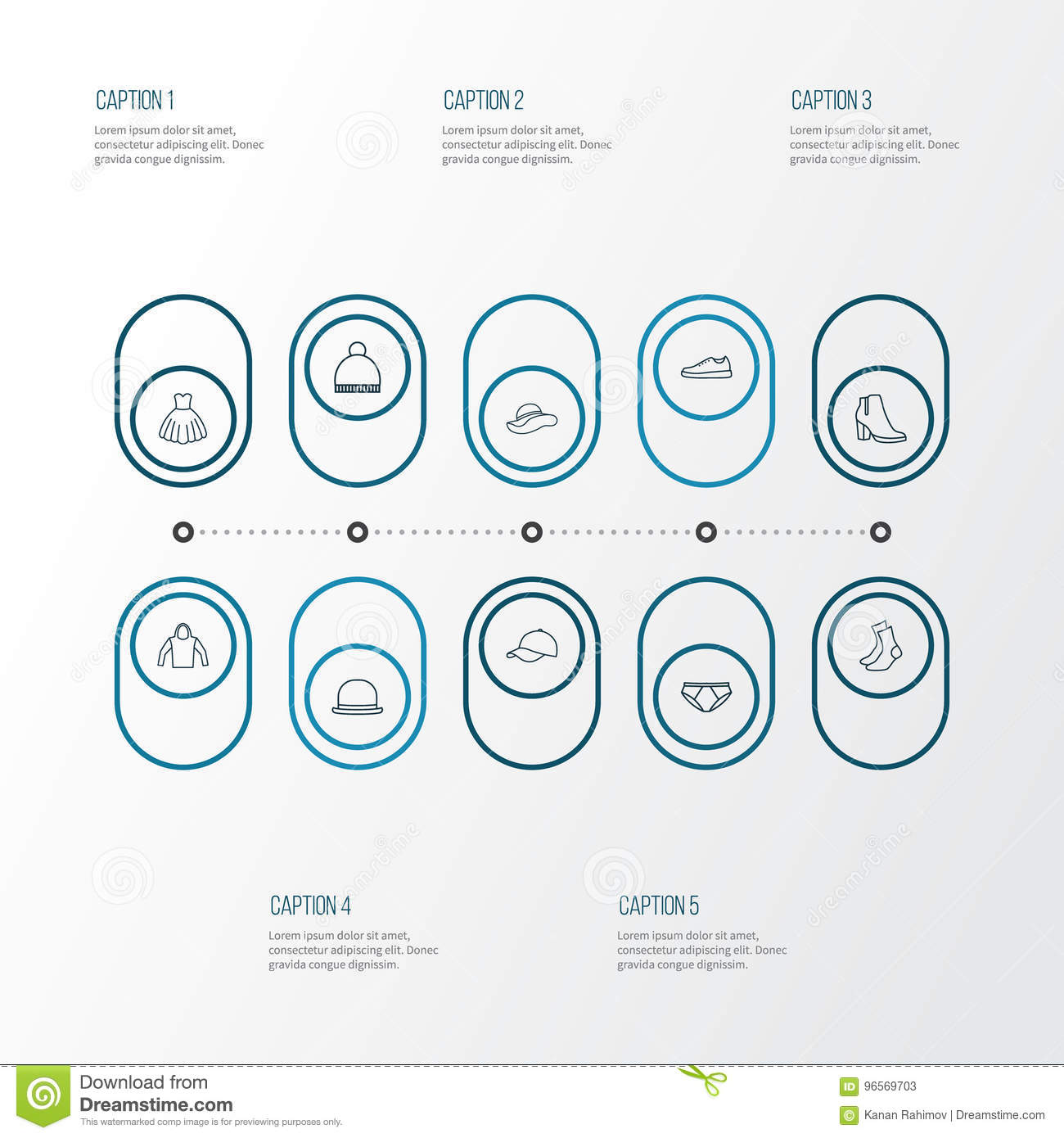 Dress Outline Icons Set Collection Of Gumshoes Hat Panama And
