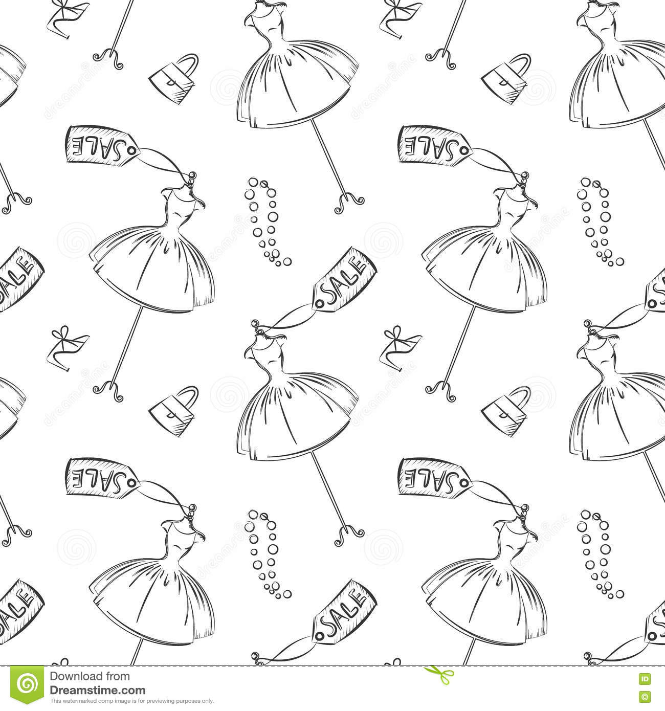 dress sell hand drawing pattern seamless stock vector illustration