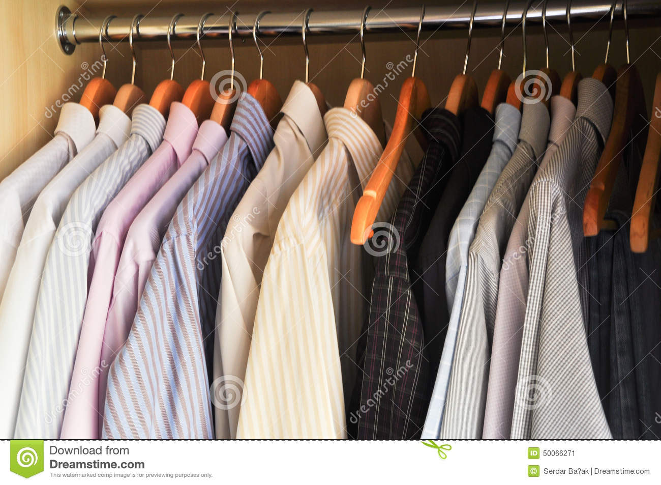 dress shirts on hangers royalty free stock image