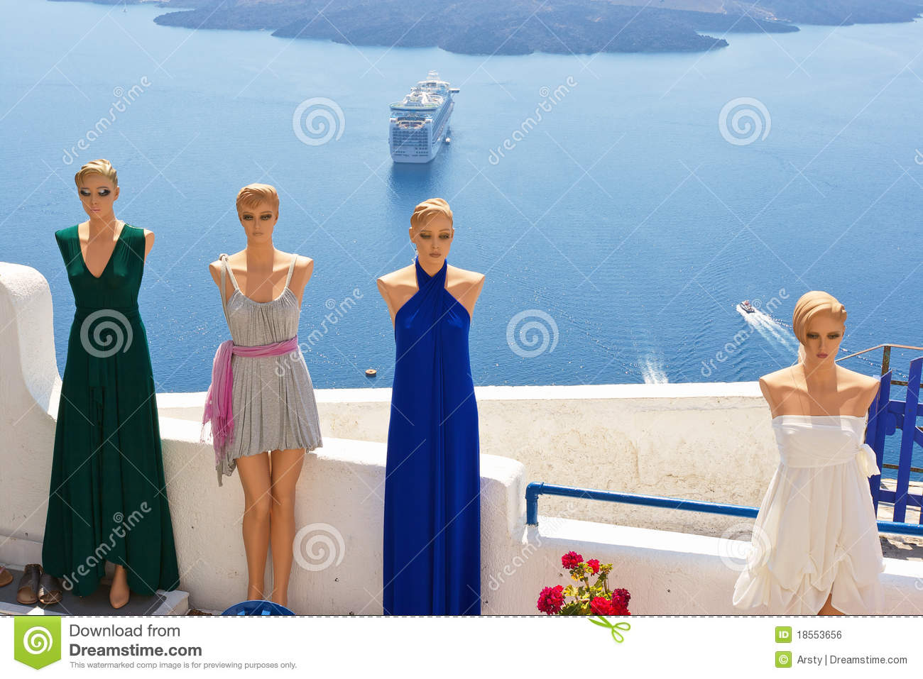 Dress Shop Santorini Greece Royalty Free Stock Image