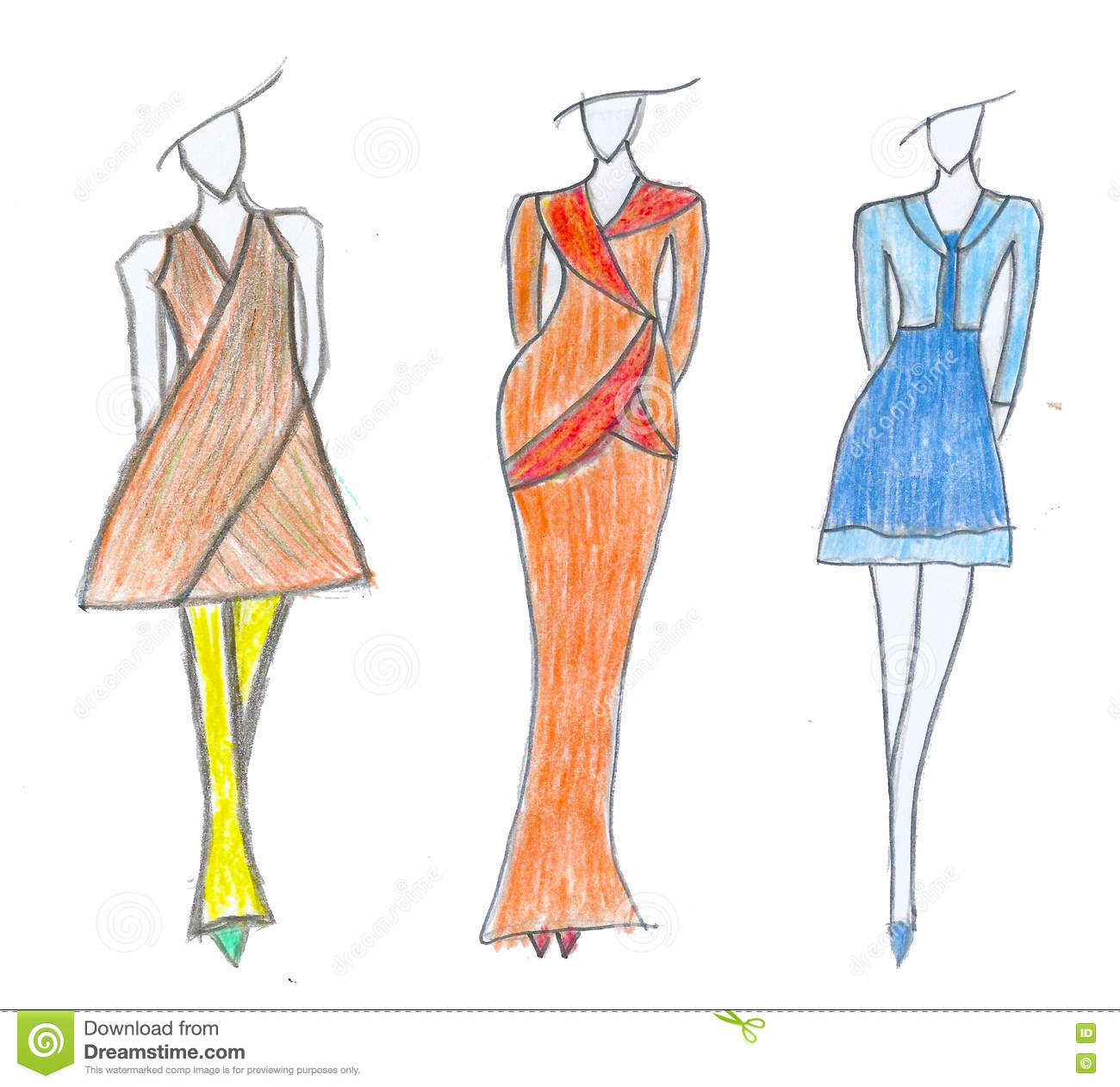 Dress Sketch Business Fashion Style Stock Illustration Illustration Of Posing Girl 77812215