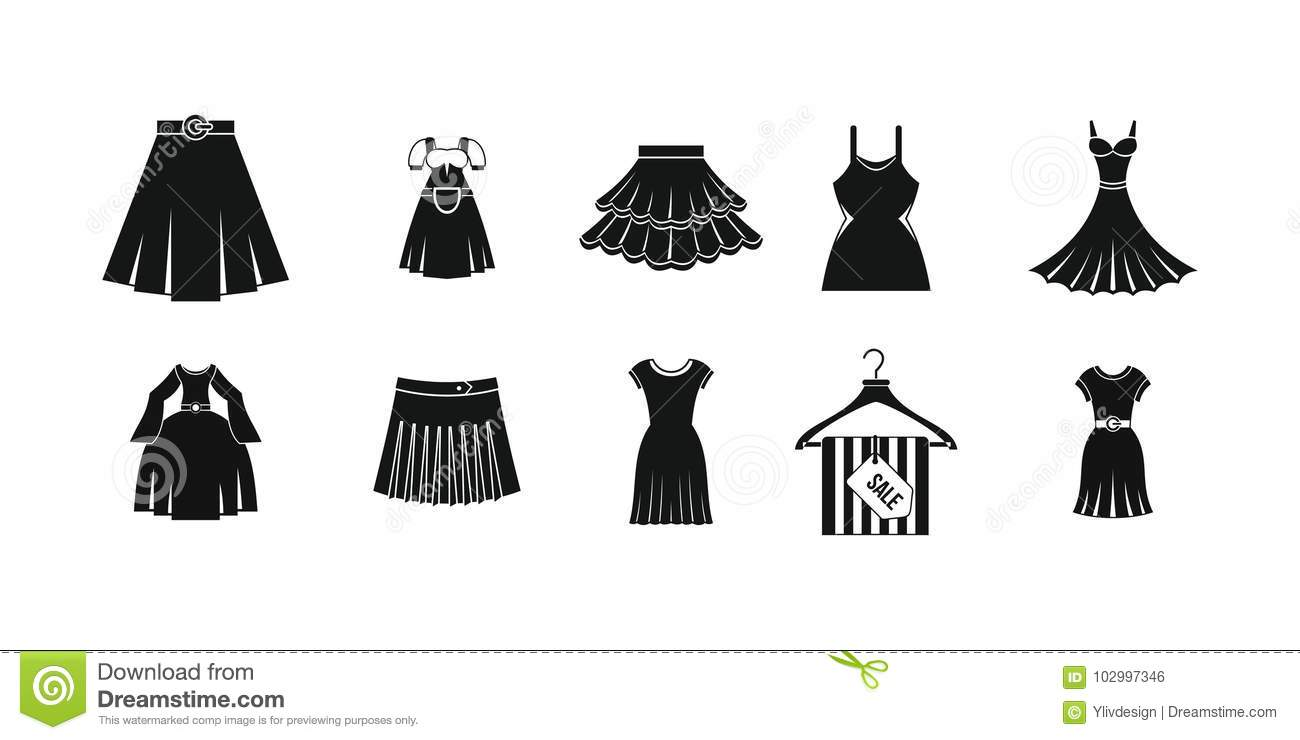 089ee9641f42d8 Dress skirt icon set. Simple set of dress skirt vector icons for web design  isolated on white background. More similar stock illustrations