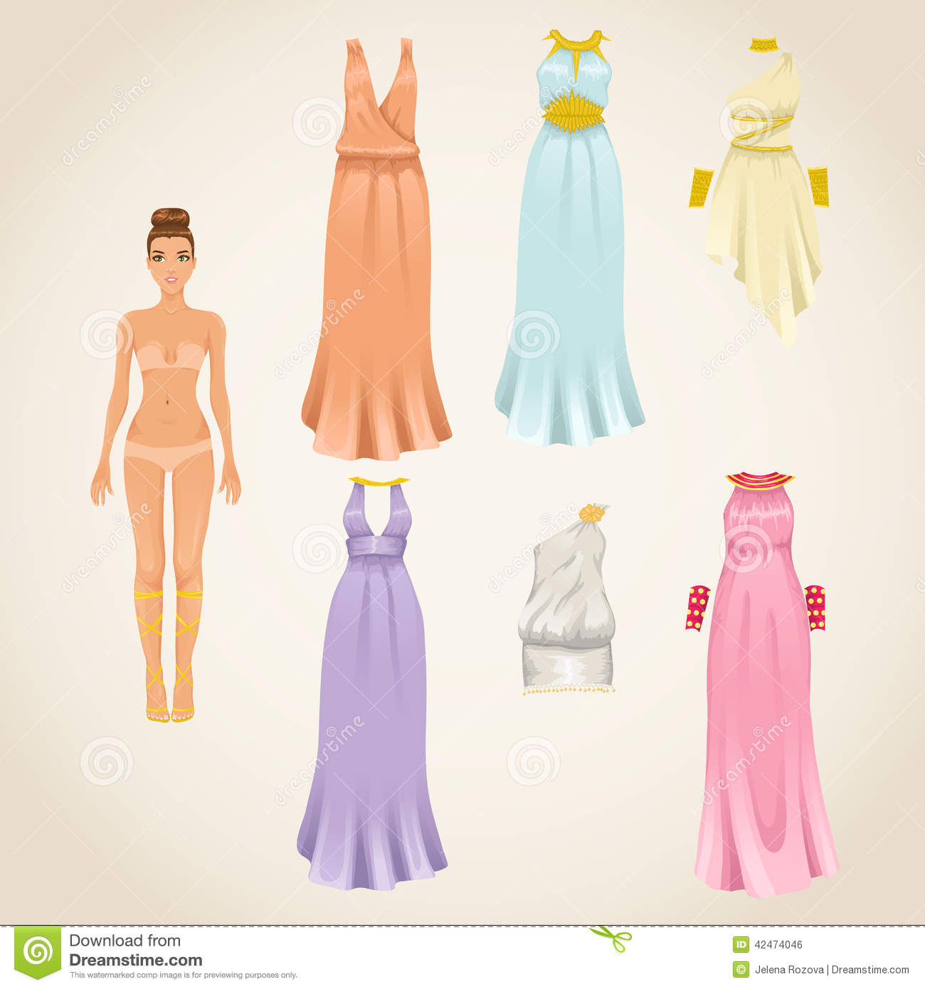 Dress Up Doll With Greek Dresses Stock Vector - Illustration