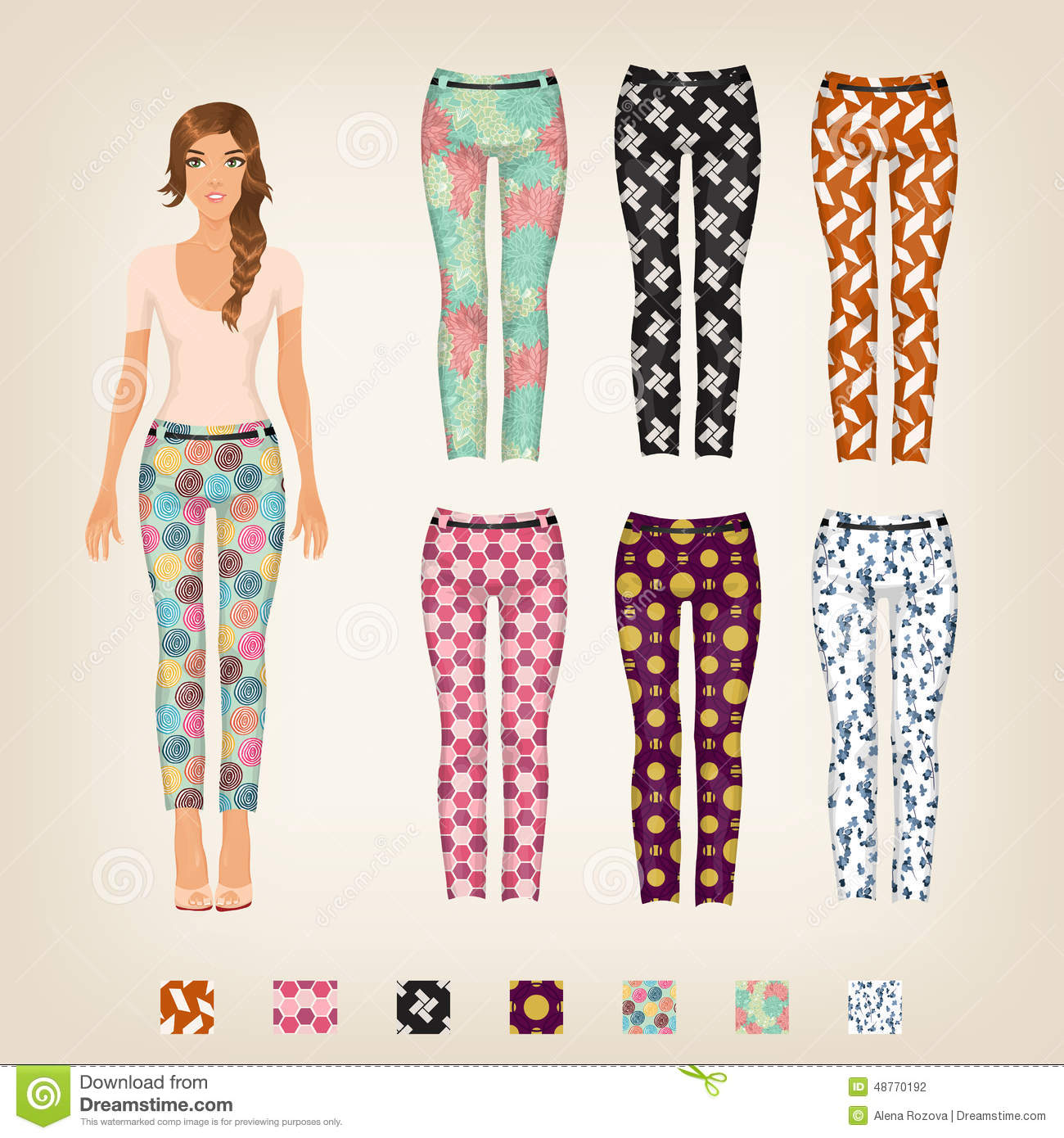 Dress Up Paper Doll With An Assortment Of Pants
