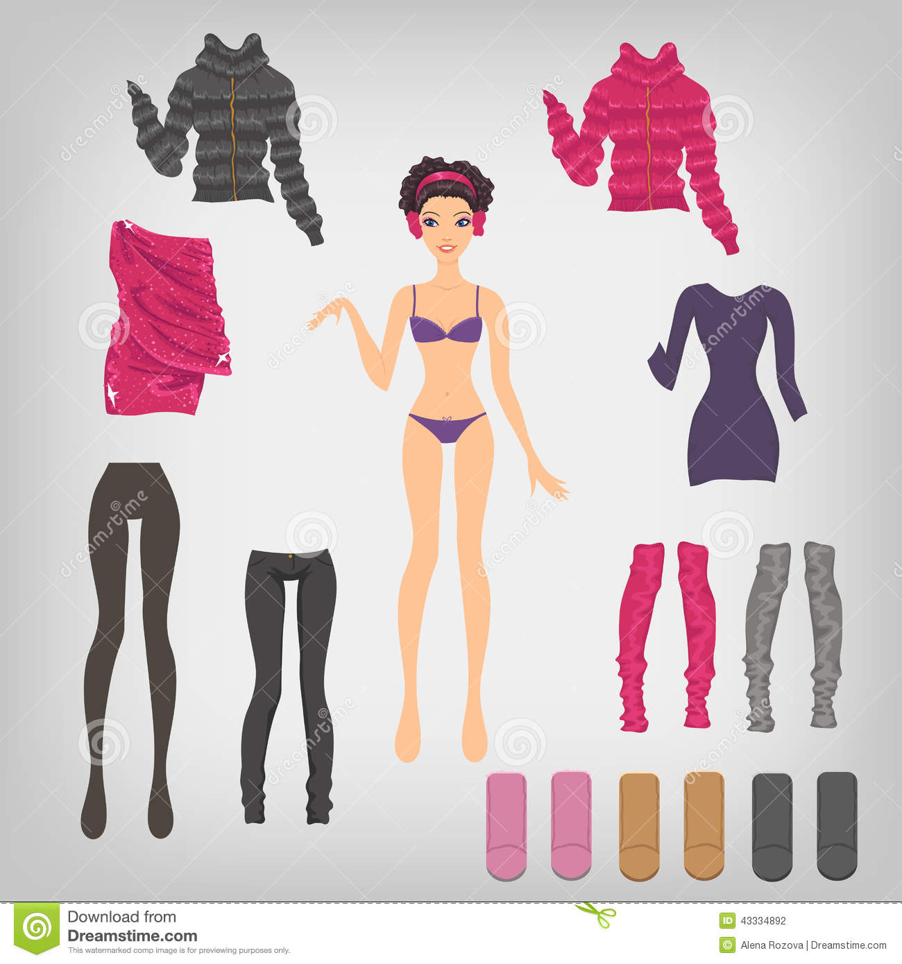 Dress up paper doll with an assortment of winter clothes