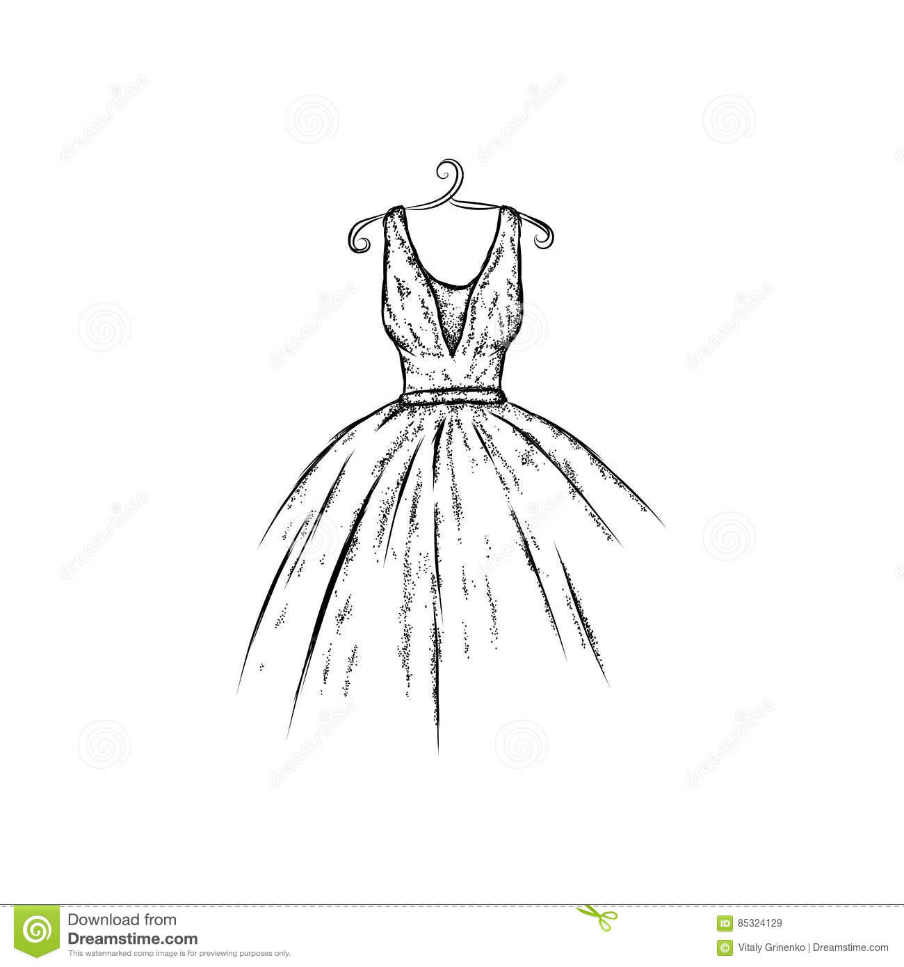 Dress In The Vector. Hand Drawing Clothes . Vintage