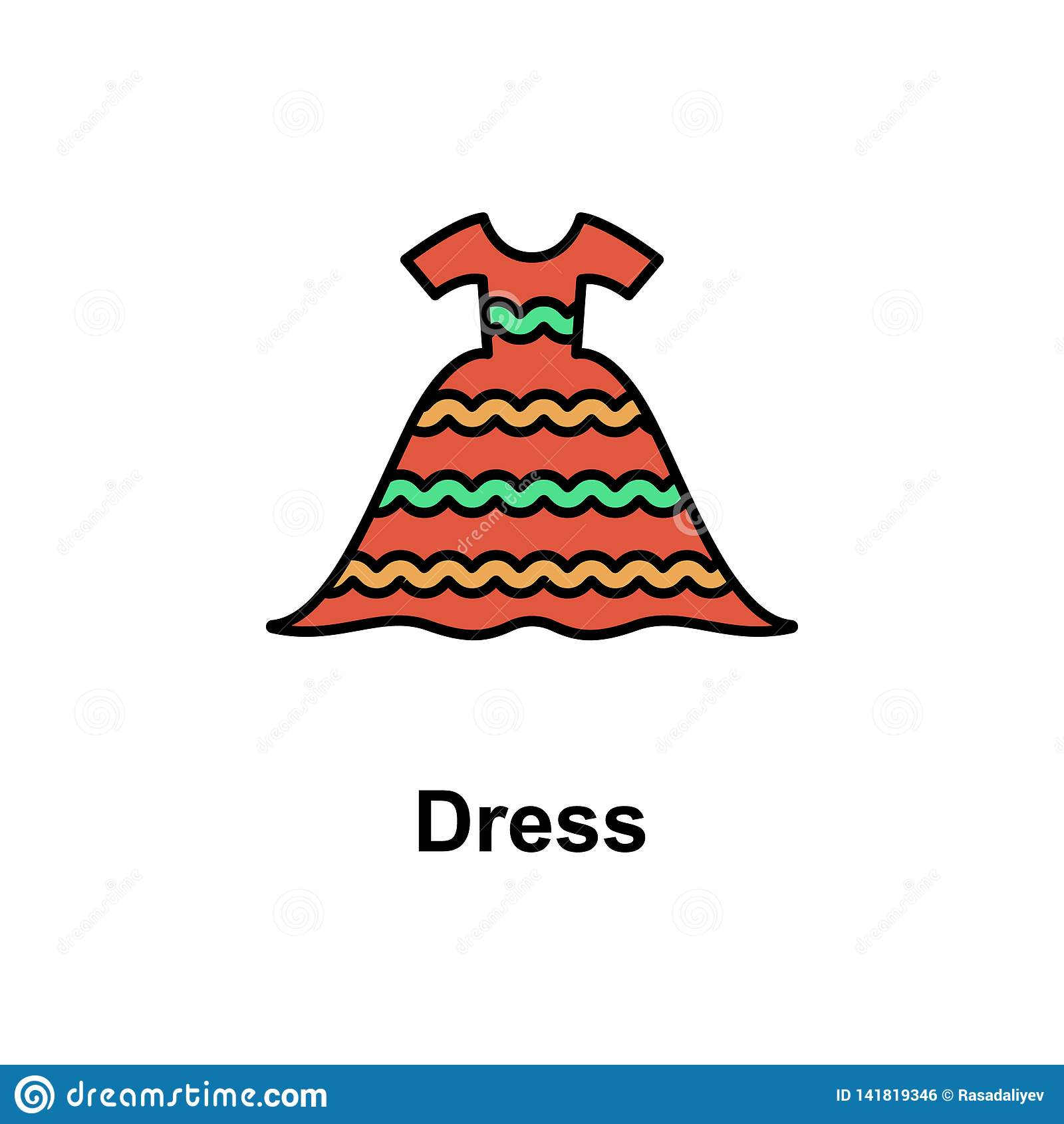 bc9eb1fcf Dress, wear icon. Element of Cinco de Mayo color icon. Premium quality  graphic design icon. Signs and symbols collection icon for websites, web  design, ...