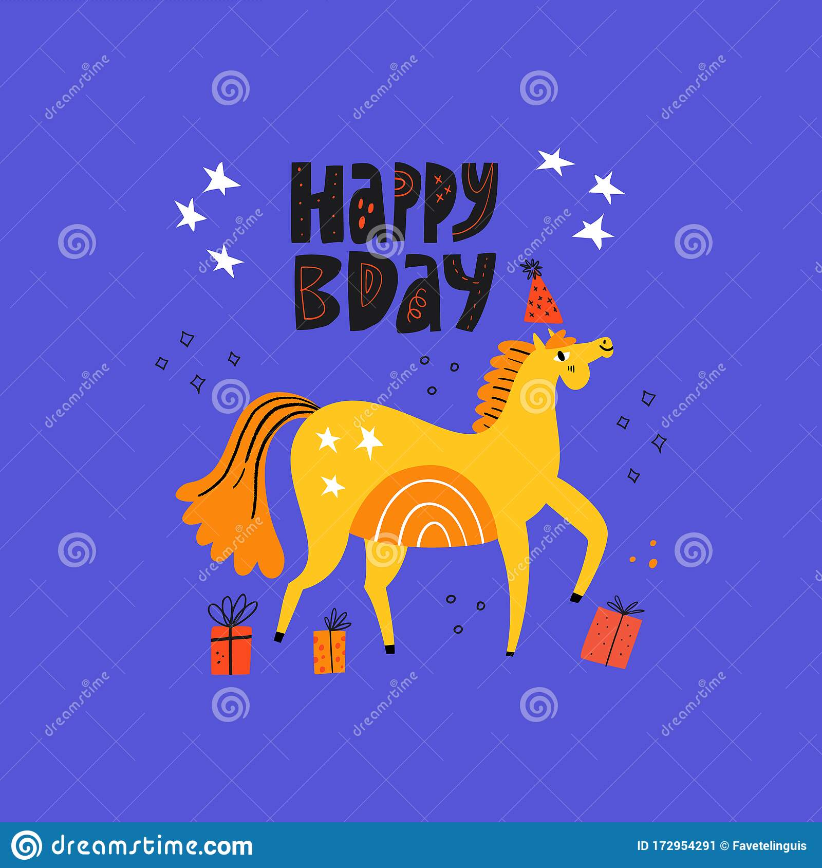 Dressage Horse In Partys Cap Funny Mare Stock Vector Illustration Of Background Animal 172954291