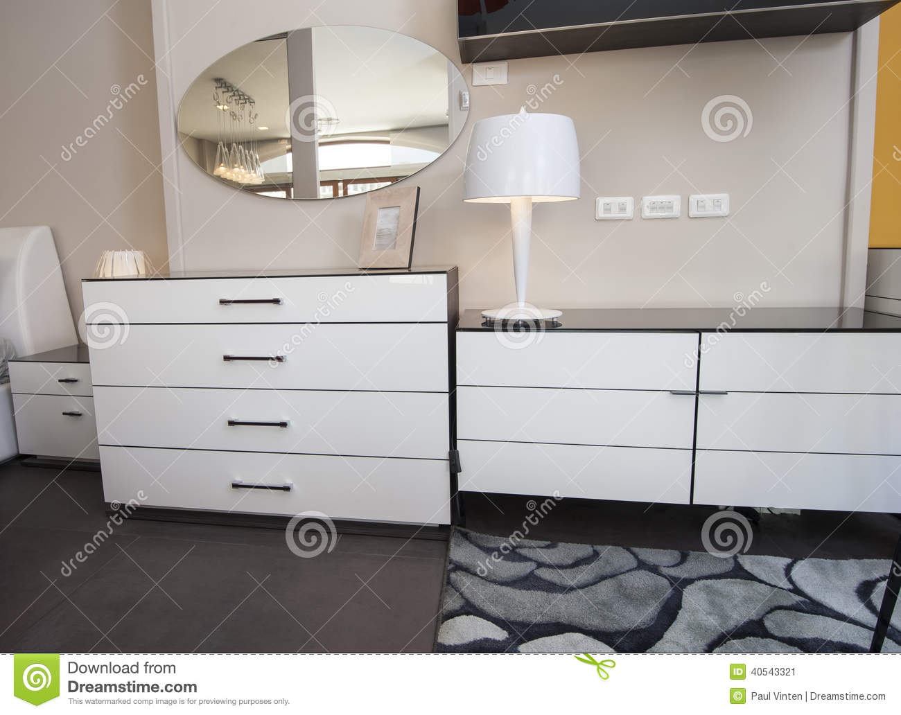 Dresser Unit In Bedroom Of Show Home Stock Image Image Of Lamp Wall 40543321
