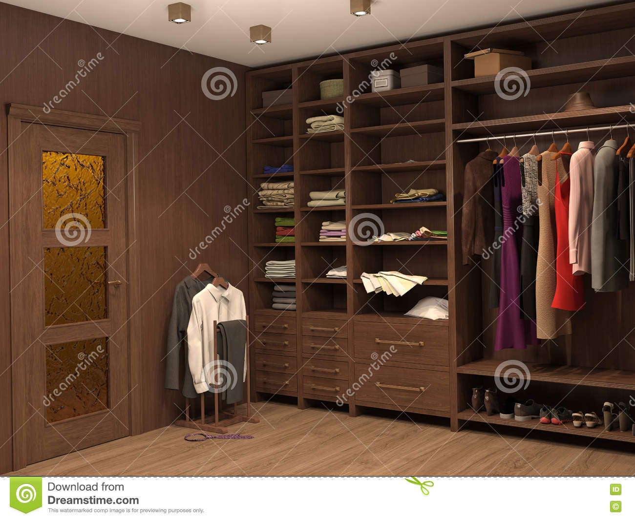 Dressing room interior of a modern house stock for Dressing room interior