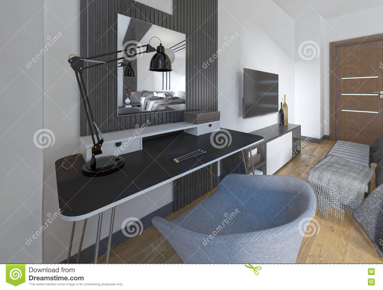 Excellent Dressing Table And Chair In A Modern Bedroom Stock Download Free Architecture Designs Barepgrimeyleaguecom