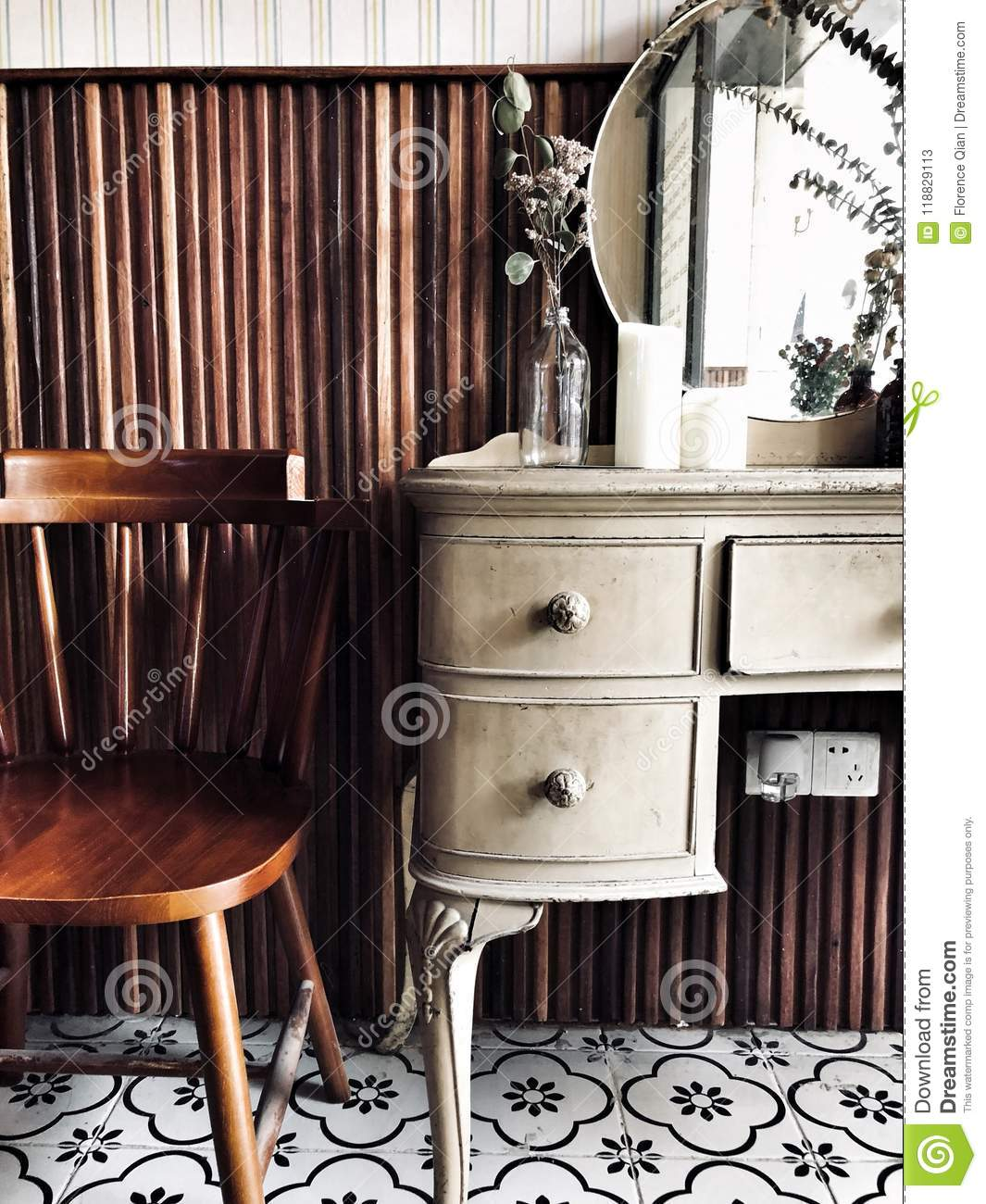 Dressing table & chair stock image. Image of decoration - 118829113