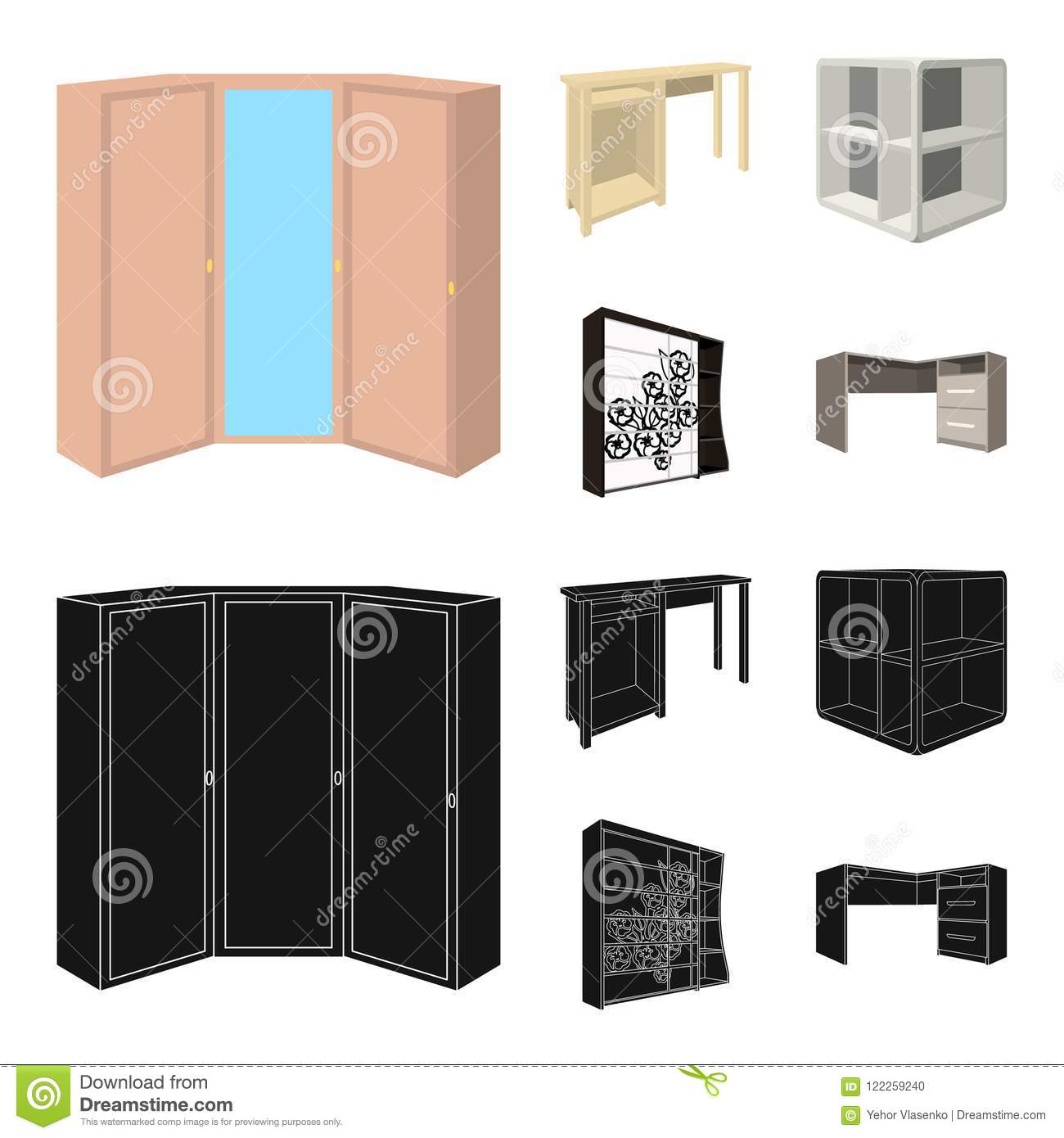 Dressing Table Corner Shelves Computer Desk Wardrobe With Glass Bedroom Furniture Set Collection Icons In Cartoon Stock Vector Illustration Of Vector Bedroom 122259240