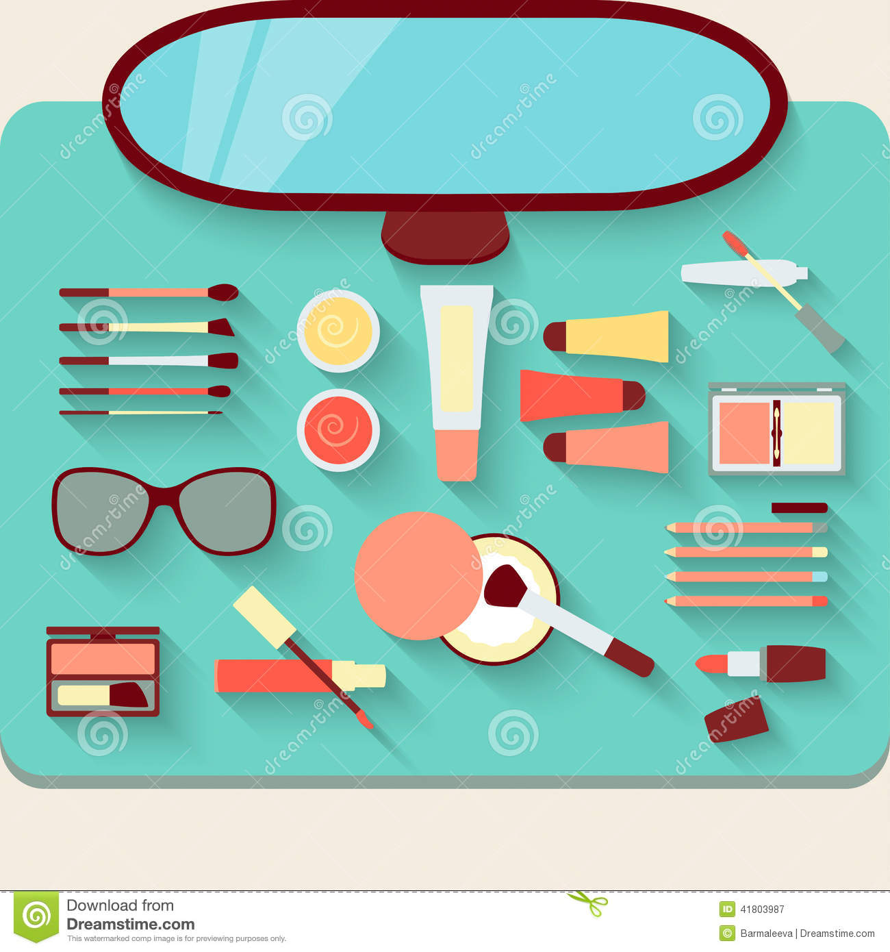 Dressing Table With Cosmetics Top View Stock Vector