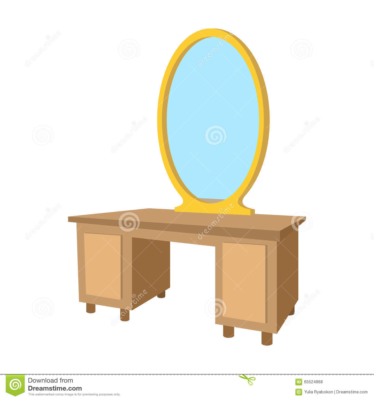 Dressing Table With A Mirror Cartoon Icon Stock Vector