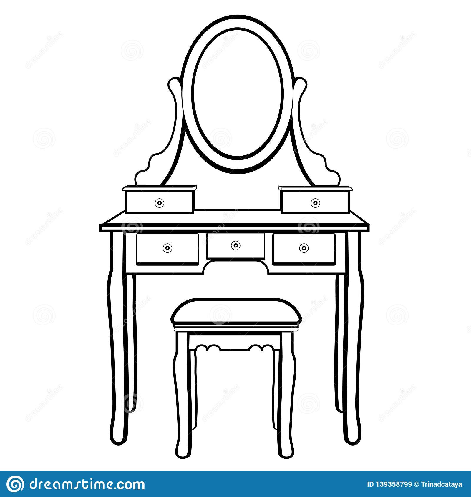 Dressing Table With Mirror Female Boudoir For Applying Makeup Coloring Sketch Contour Black And White Drawing Vector Illustra Stock Vector Illustration Of Contour Dressing 139358799