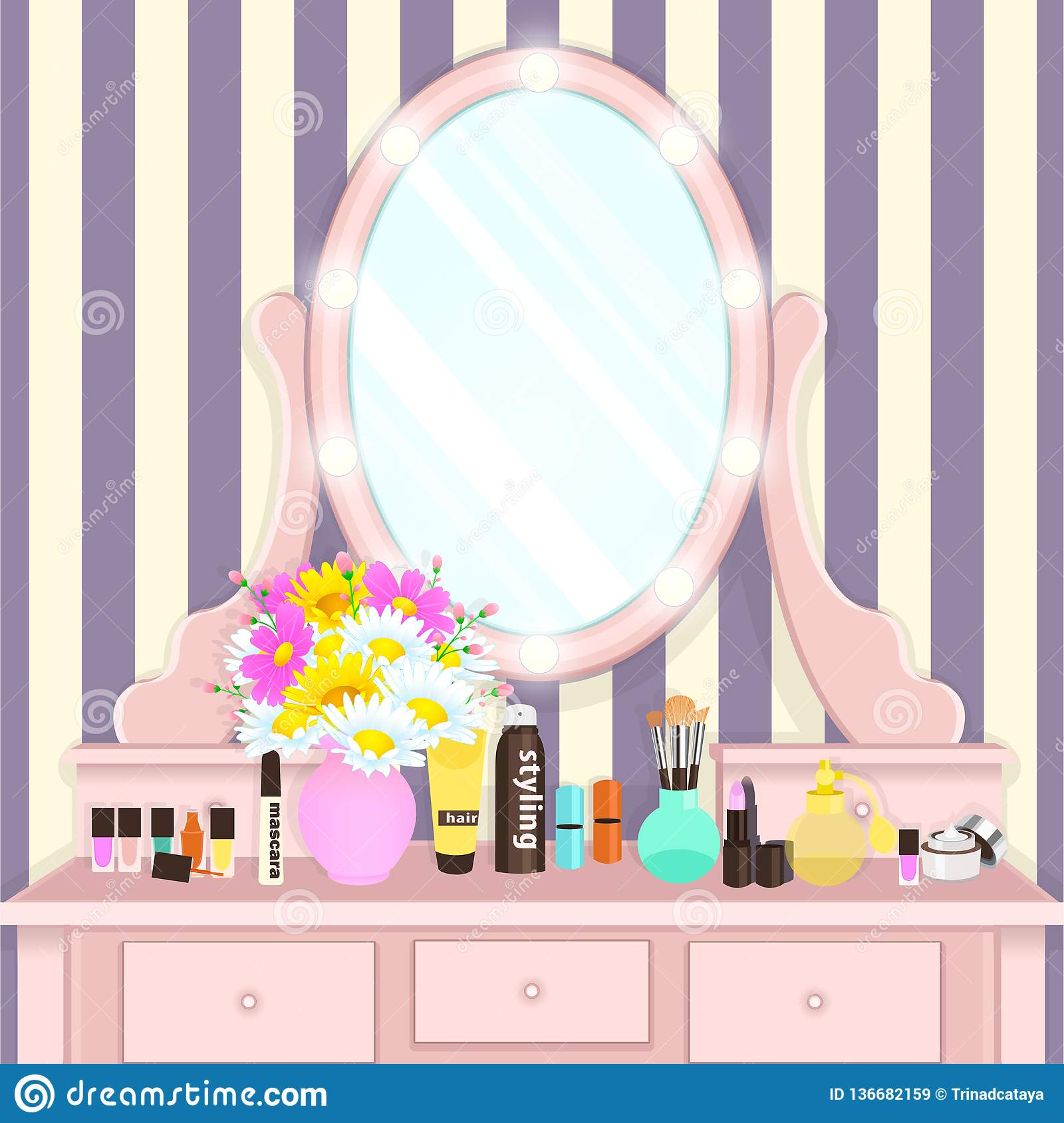 Dressing table with mirror with lights female boudoir for applying makeup flat drawing