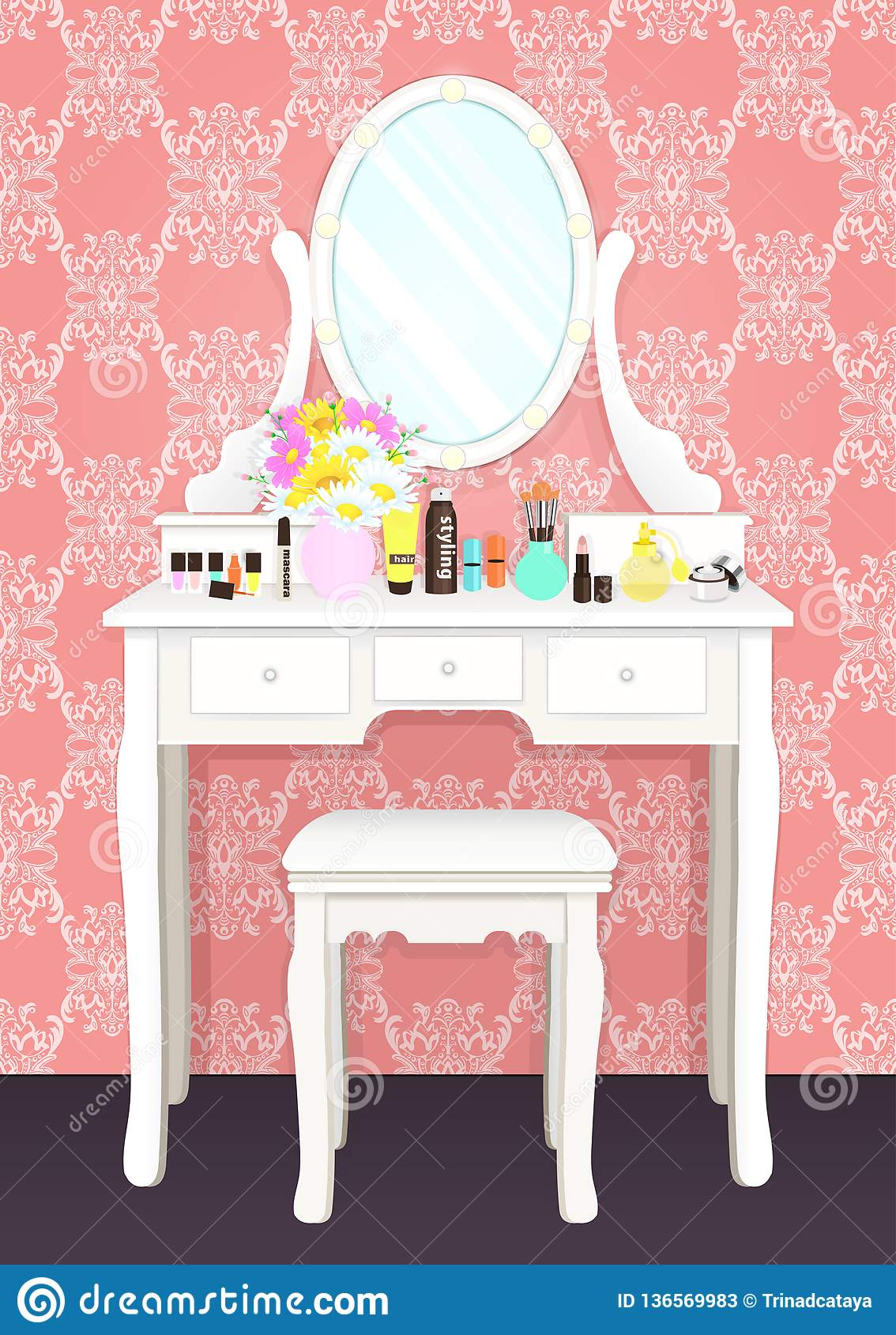 100% authentic dd656 a9740 Dressing Table With Mirror With Lights, Female Boudoir For ...