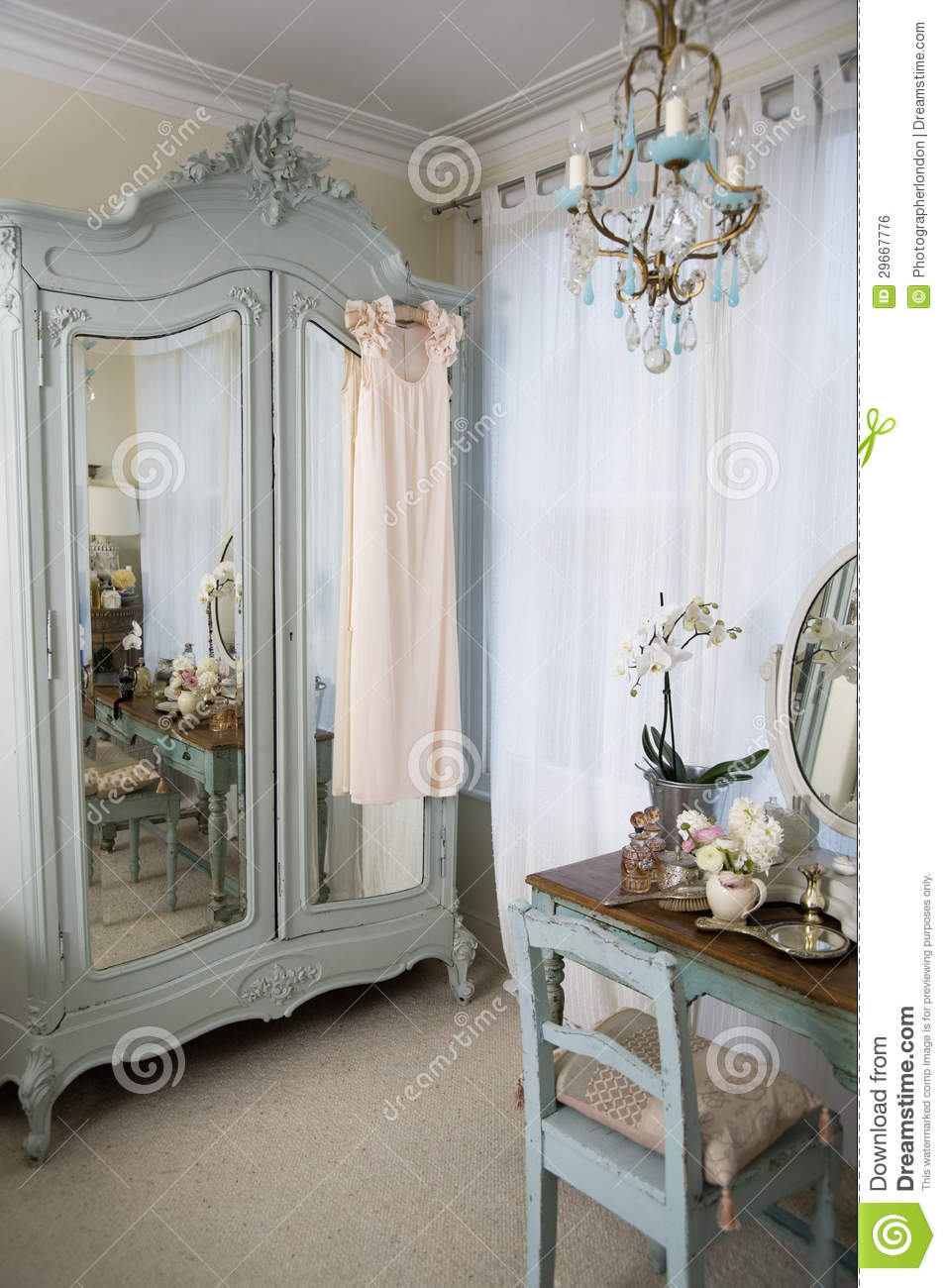 Dressing Table In Oldfashioned Room Royalty Free Stock