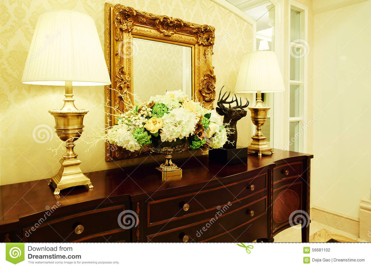 Dressing table with lamp stock photo image of lamps for Dressing table lamp lighting