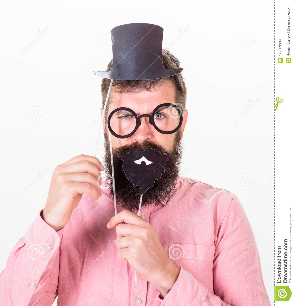 563939f8 Dressing well makes you seem more intelligent. Man bearded hipster  cardboard top hat and eyeglasses to look smarter white background.  Guaranteed ways appear ...