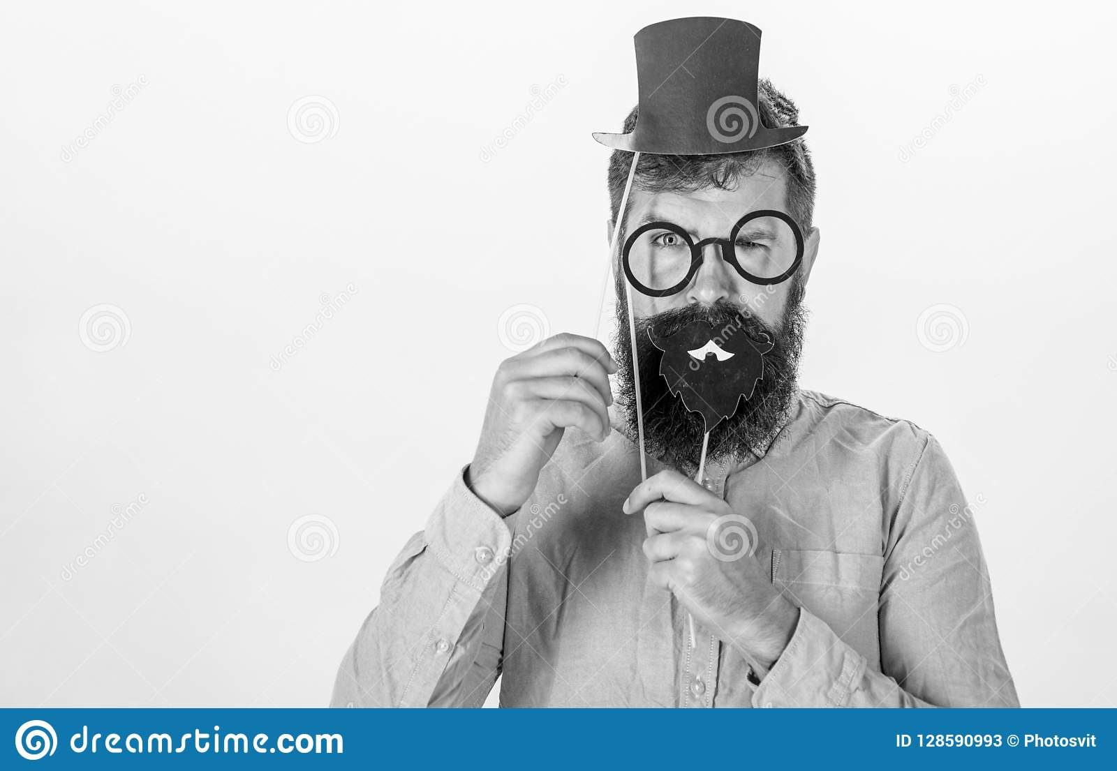 3ebeae35 Dressing well makes you seem more intelligent. Tricks to seem more  intelligent. Man bearded hipster cardboard top hat and eyeglasses to look  smarter white ...