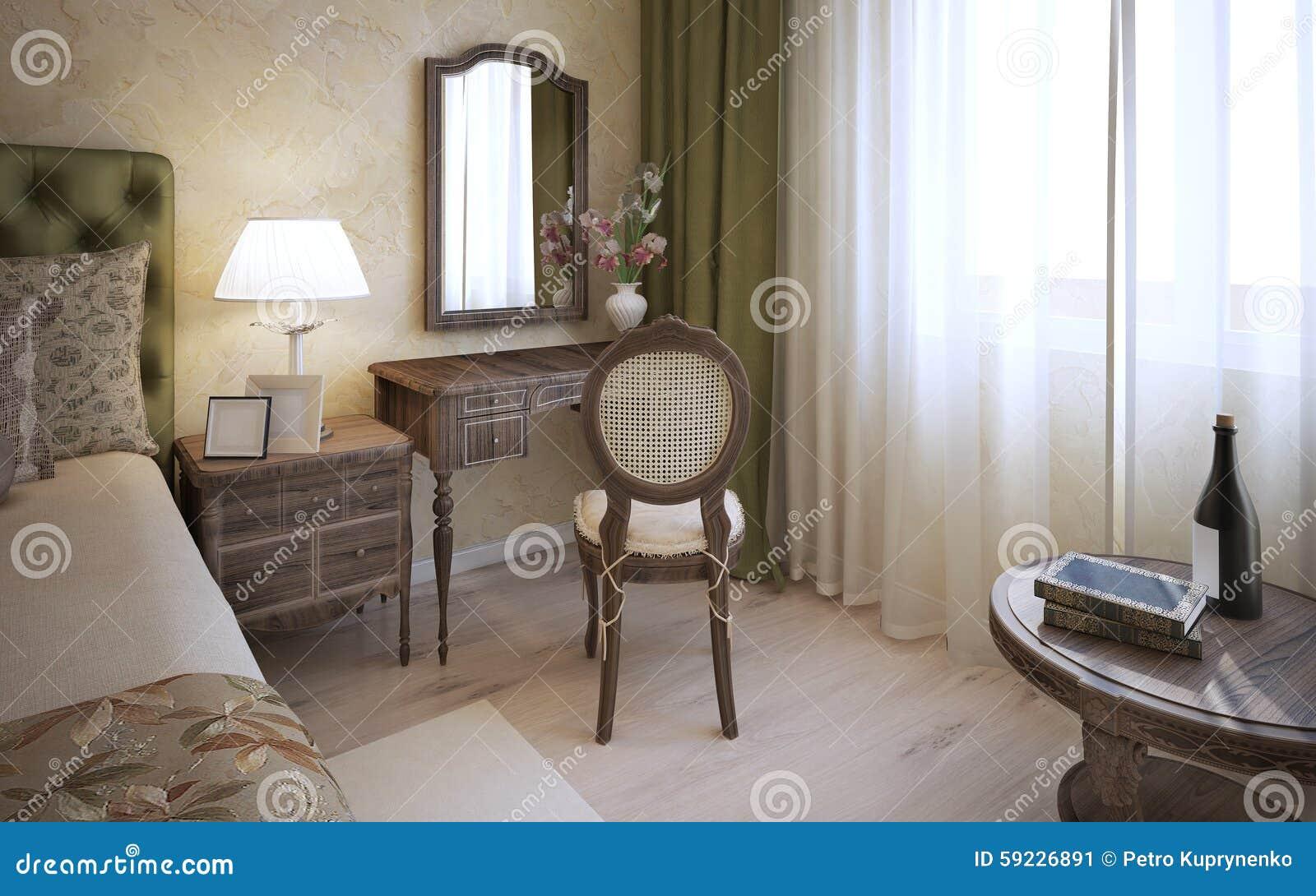 Dressingtabell i engelskt sovrum stock illustrationer   bild: 59226891