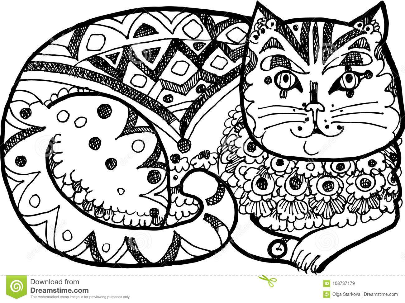 Dressy Wunderfull Cat, Colouring Book,black And White Version Stock ...