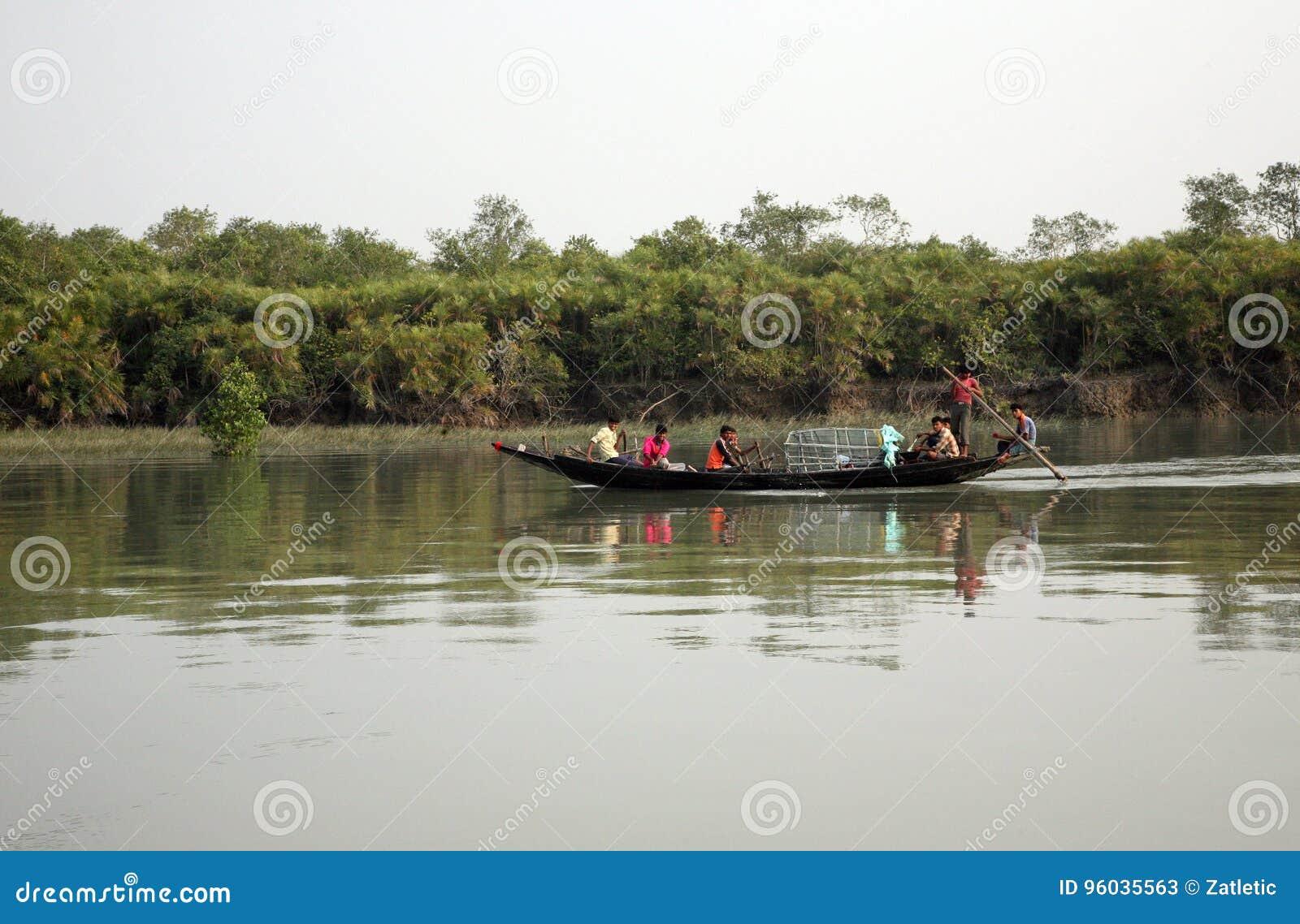 Drewniana łódź krzyżuje Ganges rzekę w Sundarbans, Zachodni Bengalia, India