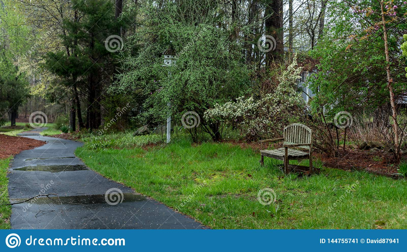 Drewniana ławka i birdhouse obok ścieżki