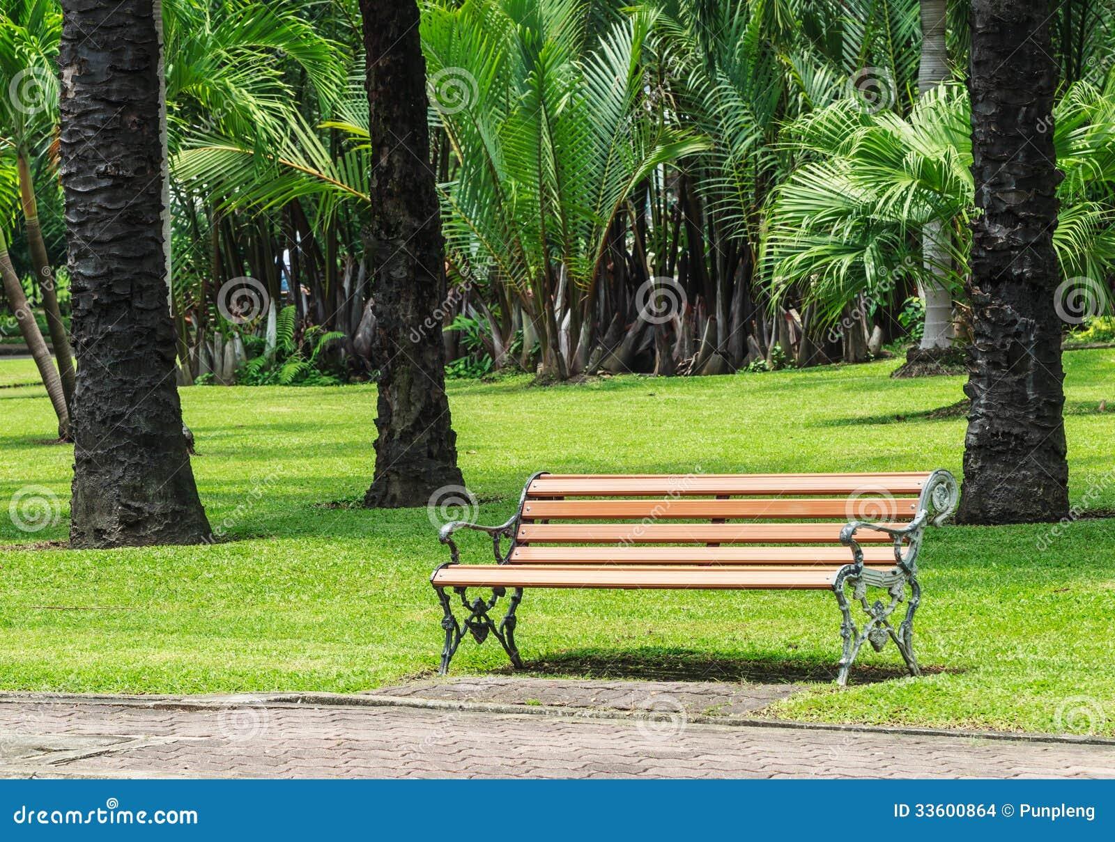 Drewniana ławka z aliaż strukturą w palma ogródzie