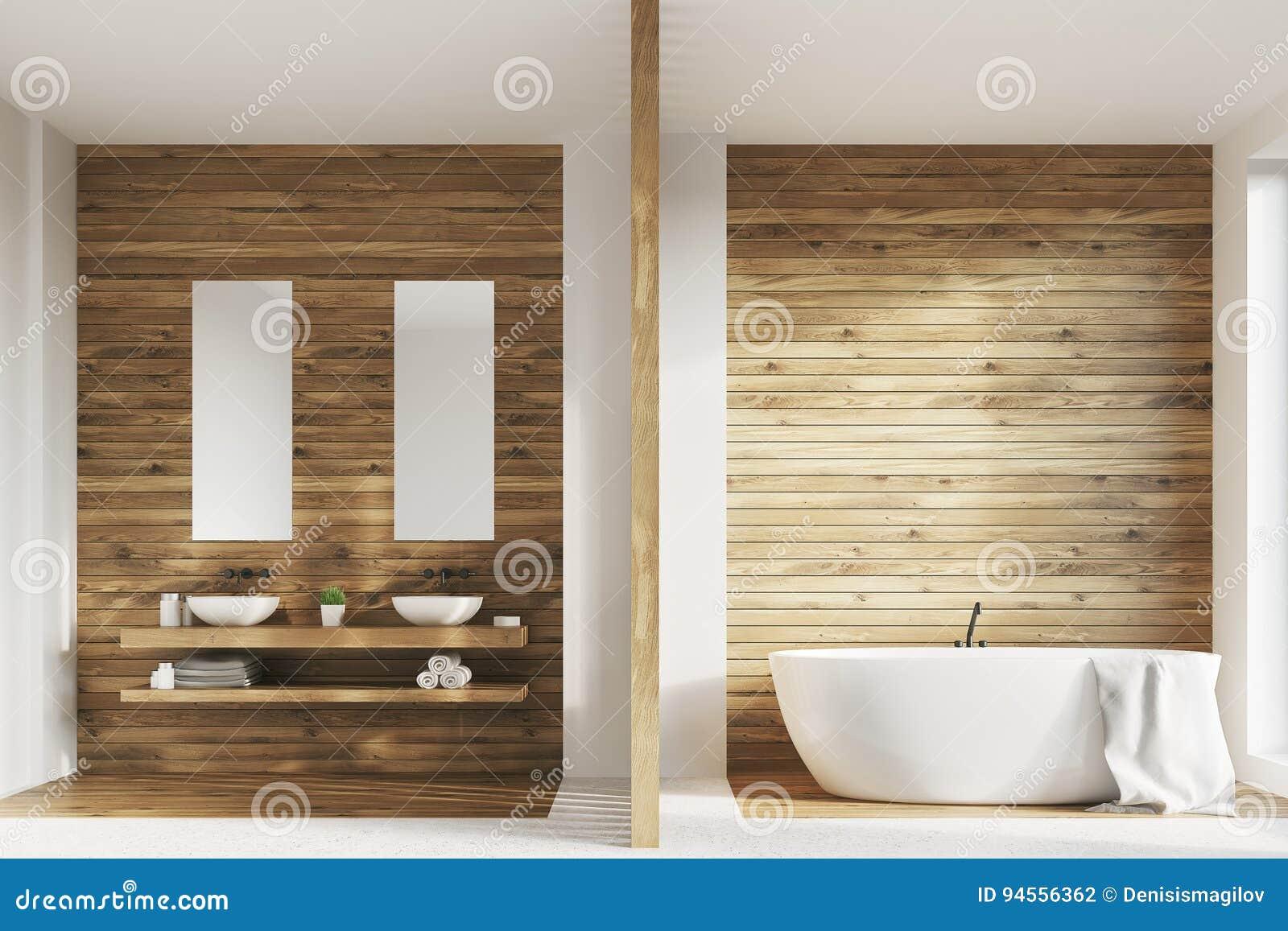 Drewniana łazienka Dwa Zlew Plakaty Ilustracji