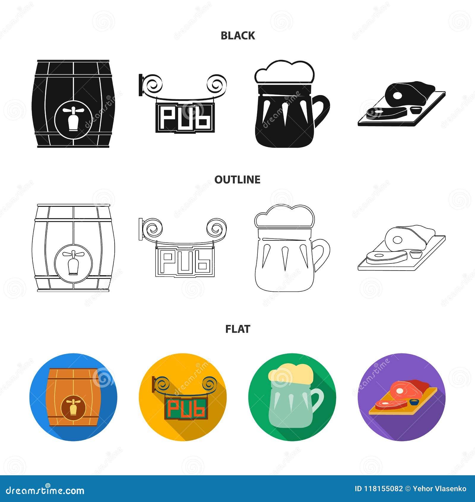 Drewniana baryłka z faucet, karczemny znak, kubek piwo, kawałki mięso na desce Pub ustalone inkasowe ikony w czerni