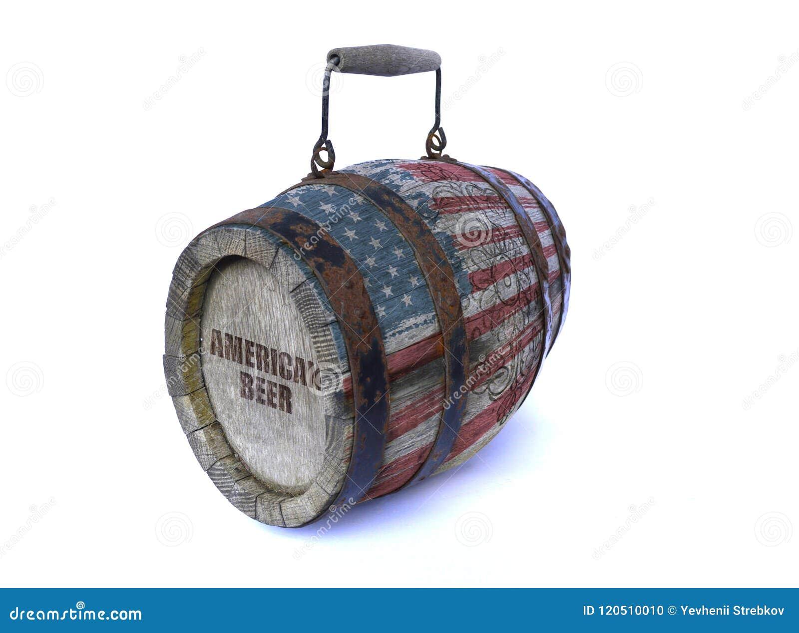 Drewniana baryłka z flaga amerykańską i wpisowym AMERYKAŃSKIM piwem
