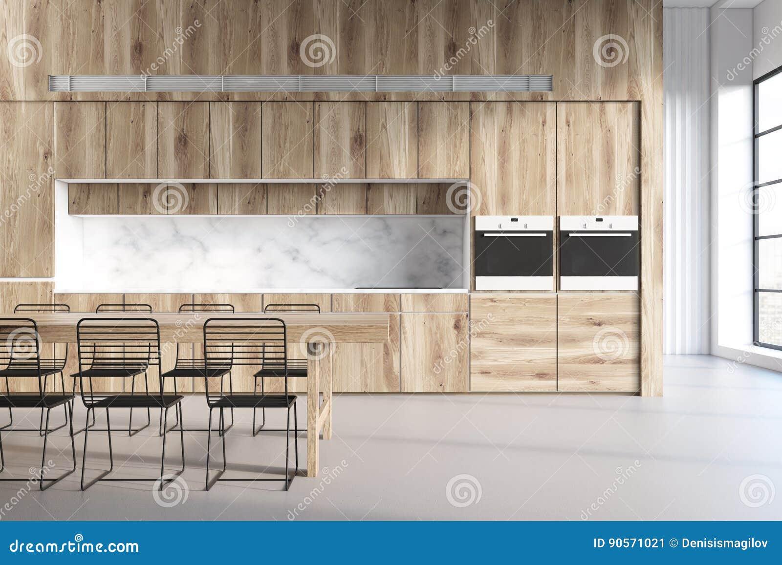 Drewniana Kuchnia Marmur ściany Ilustracji Ilustracja