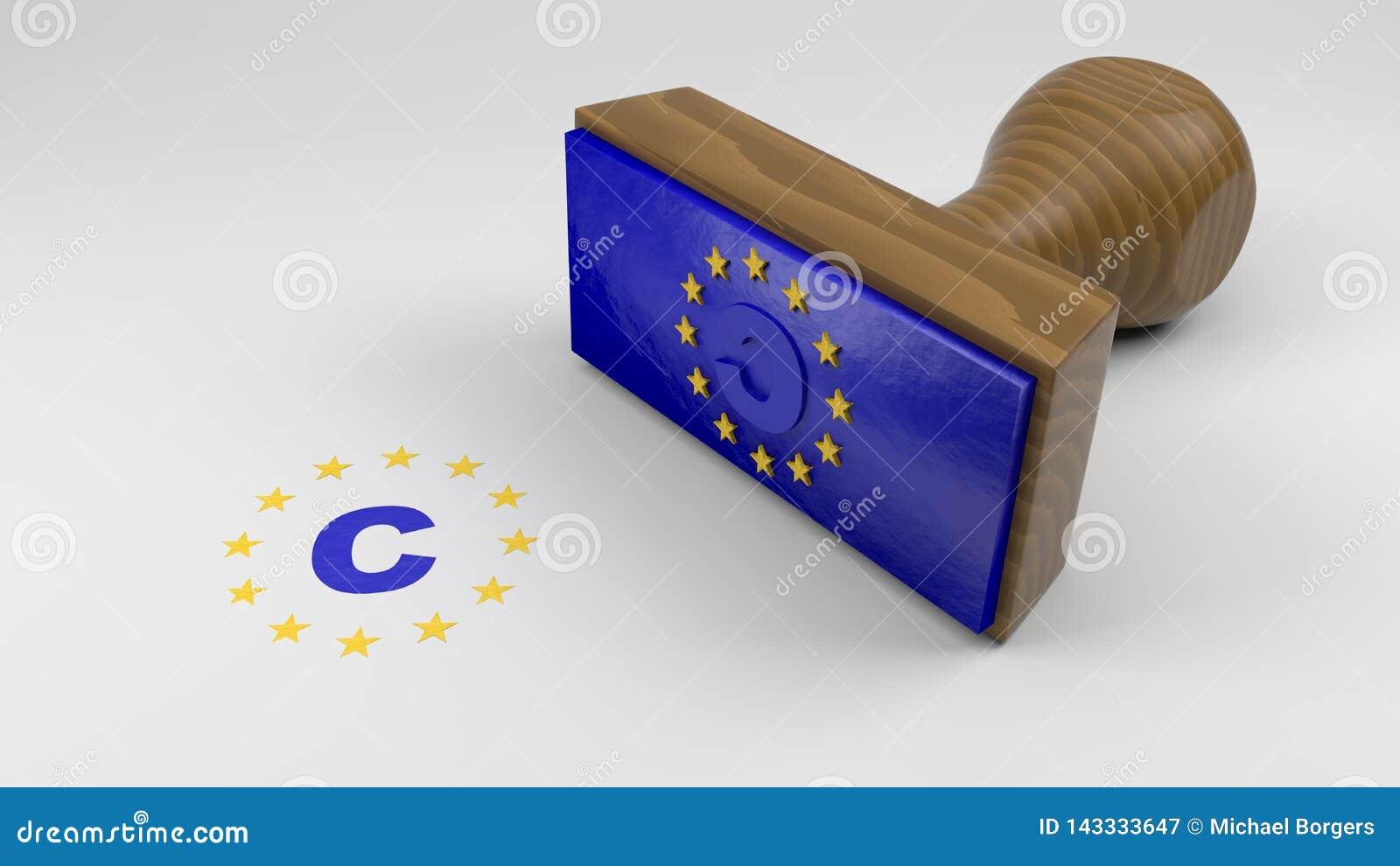 Drewniana pieczątka z UE flagą i prawo autorskie symbolem