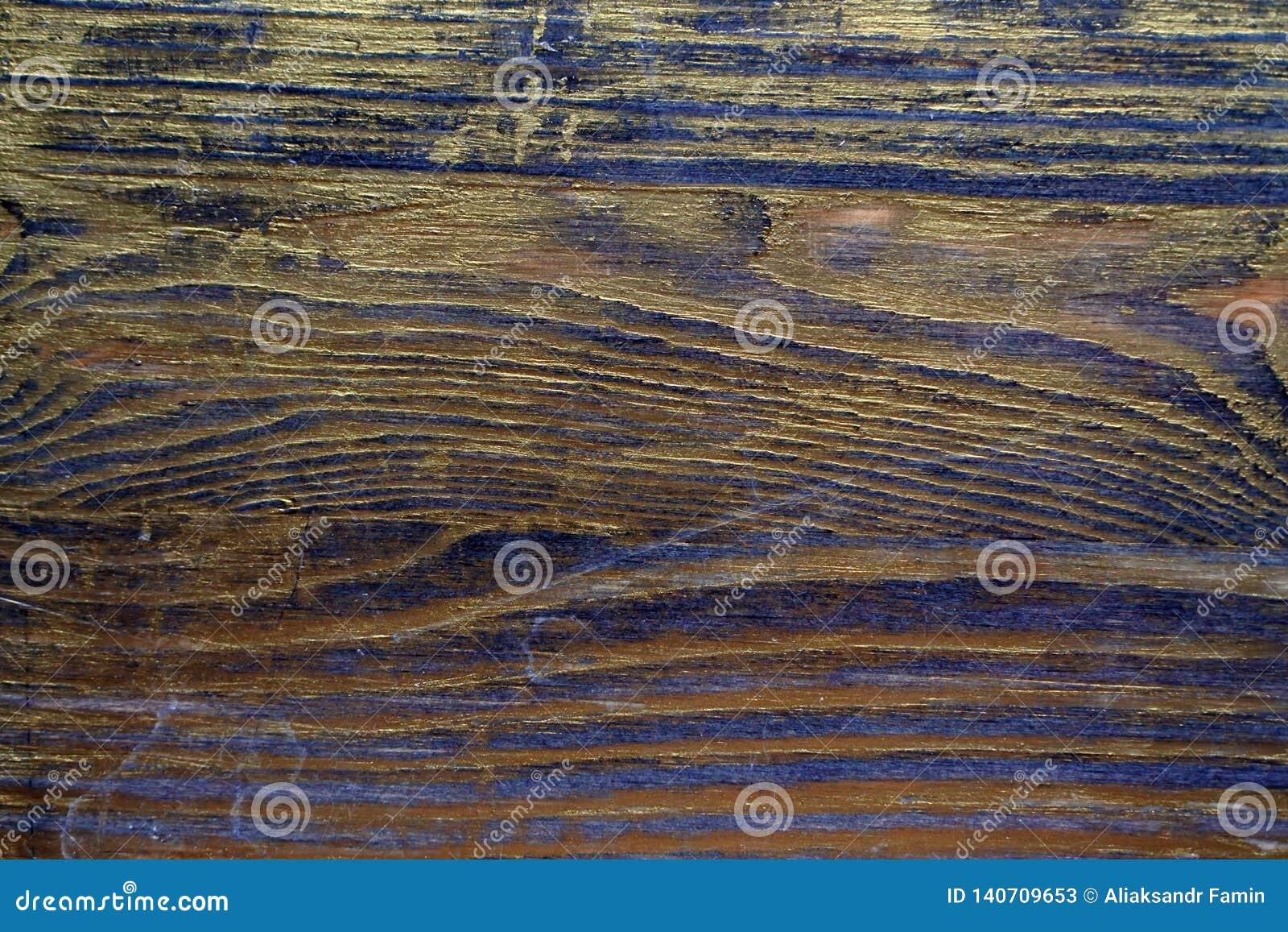 Drewniana tekstura taktująca z heban plamą i złocistą farbą