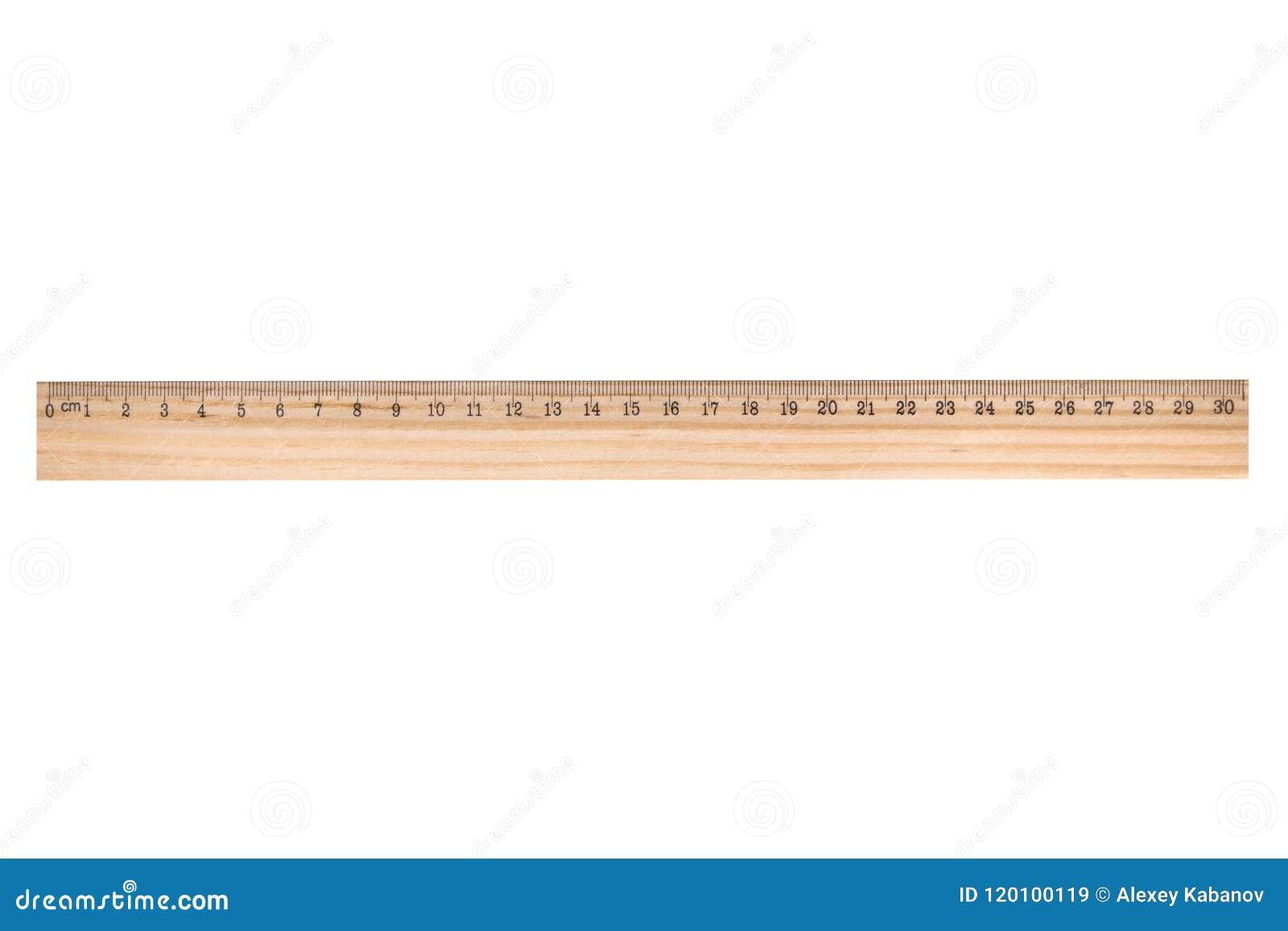 Drewniana władca odizolowywająca na białym tle, 30 cm