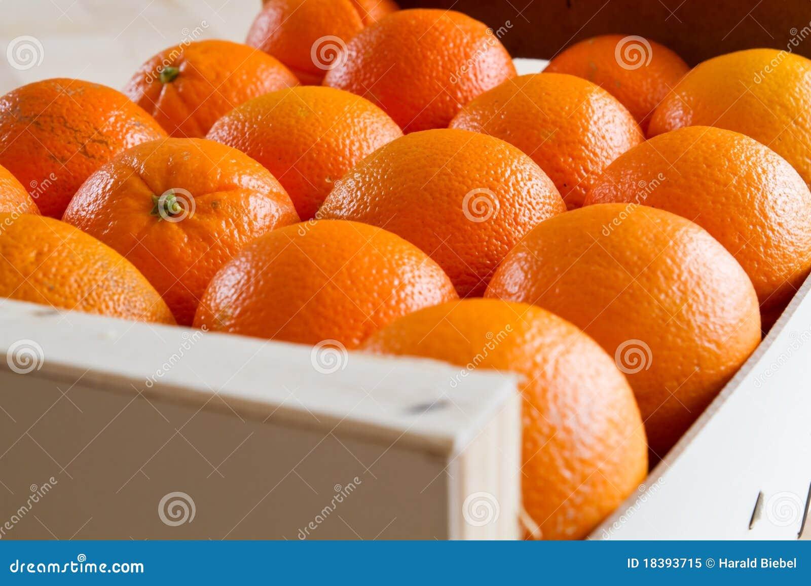 Drewniane pudełkowate świeże pomarańcze