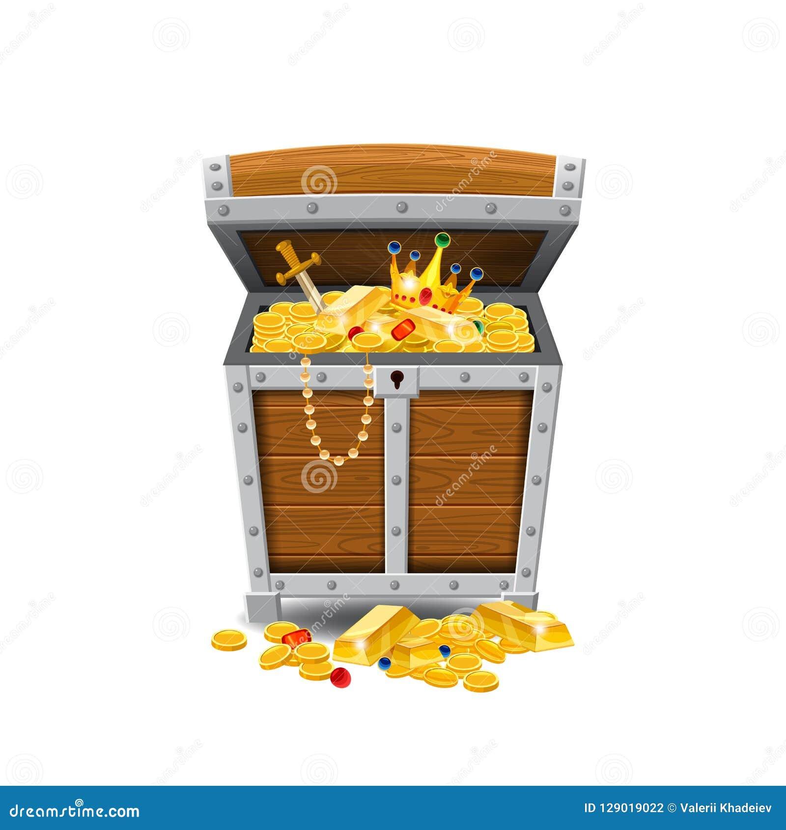 Drewniane stare pirat klatki piersiowe skarby, pełno, złociste monety, skarby, wektor, kreskówka styl, ilustracja, odizolowywając