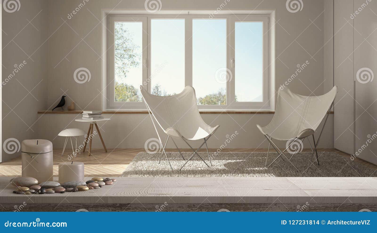 Drewnianego rocznika stołowy wierzchołek, półka z lub, zen nastrój nad zamazanym pustym minimalistycznym białym żywym pokojem z p