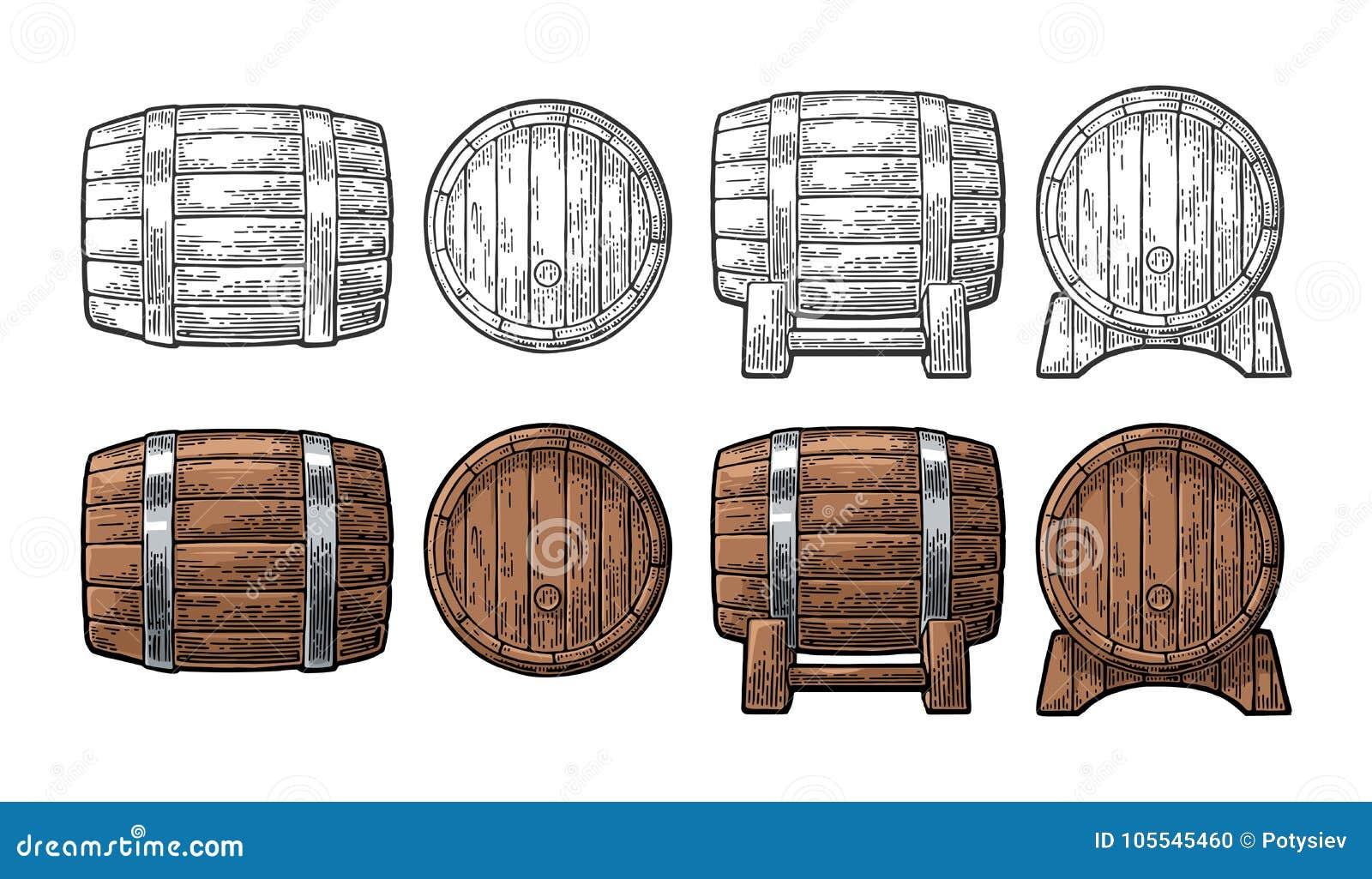 Drewnianej baryłki frontowego i bocznego widoku rytownictwa wektoru ilustracja