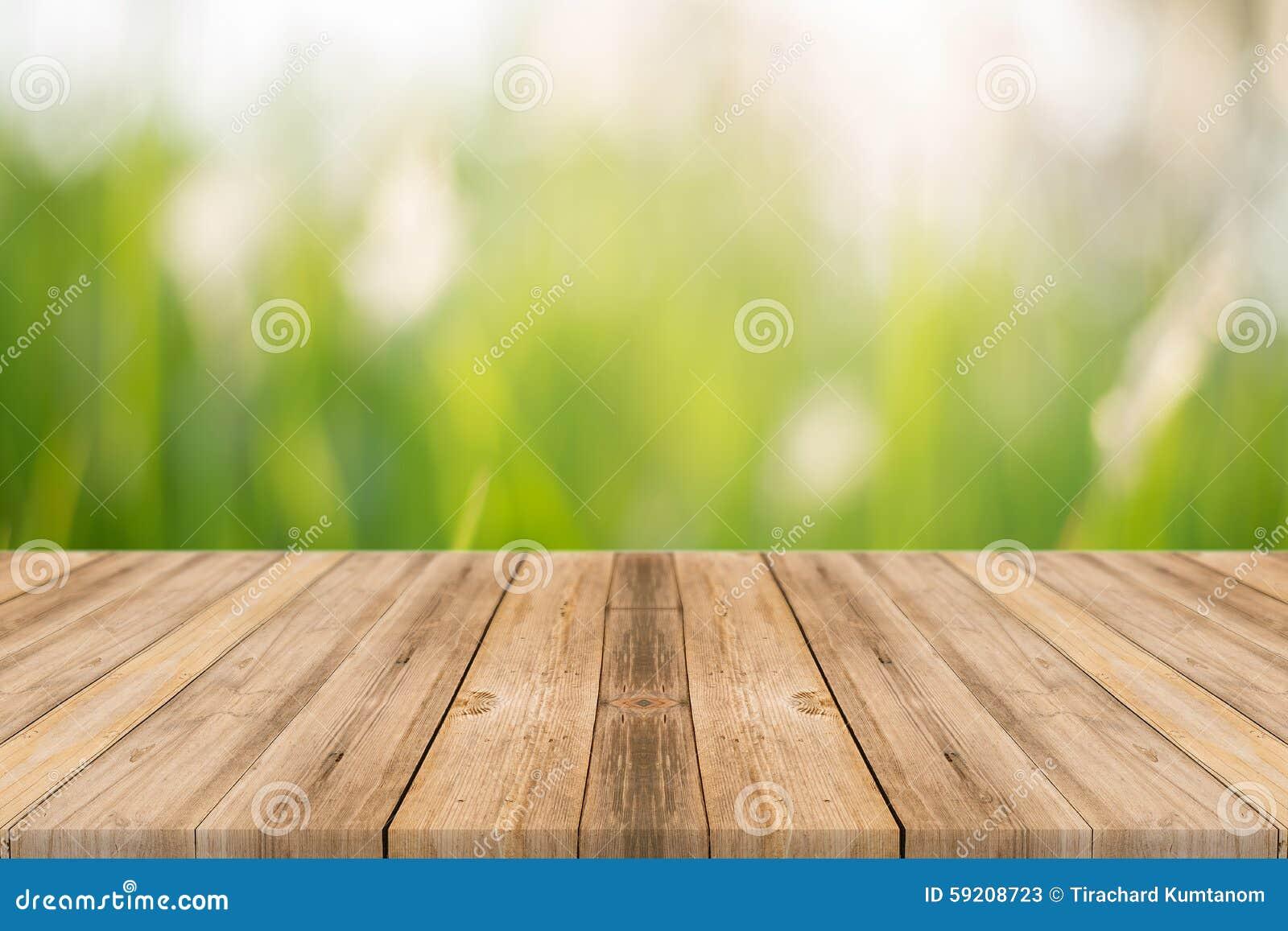 Drewnianej deski plamy puści stołowi drzewa w lasowym tle