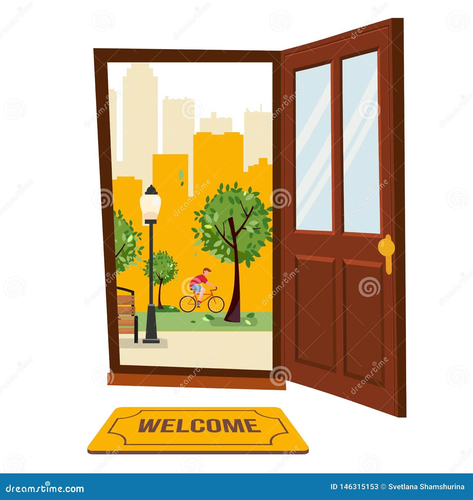 Drewniany brązu drzwi z widokiem parkowy miastowy krajobraz Na zewnątrz freen drzewa, drapacz chmur sylwetki Gorący lato pejzaż m