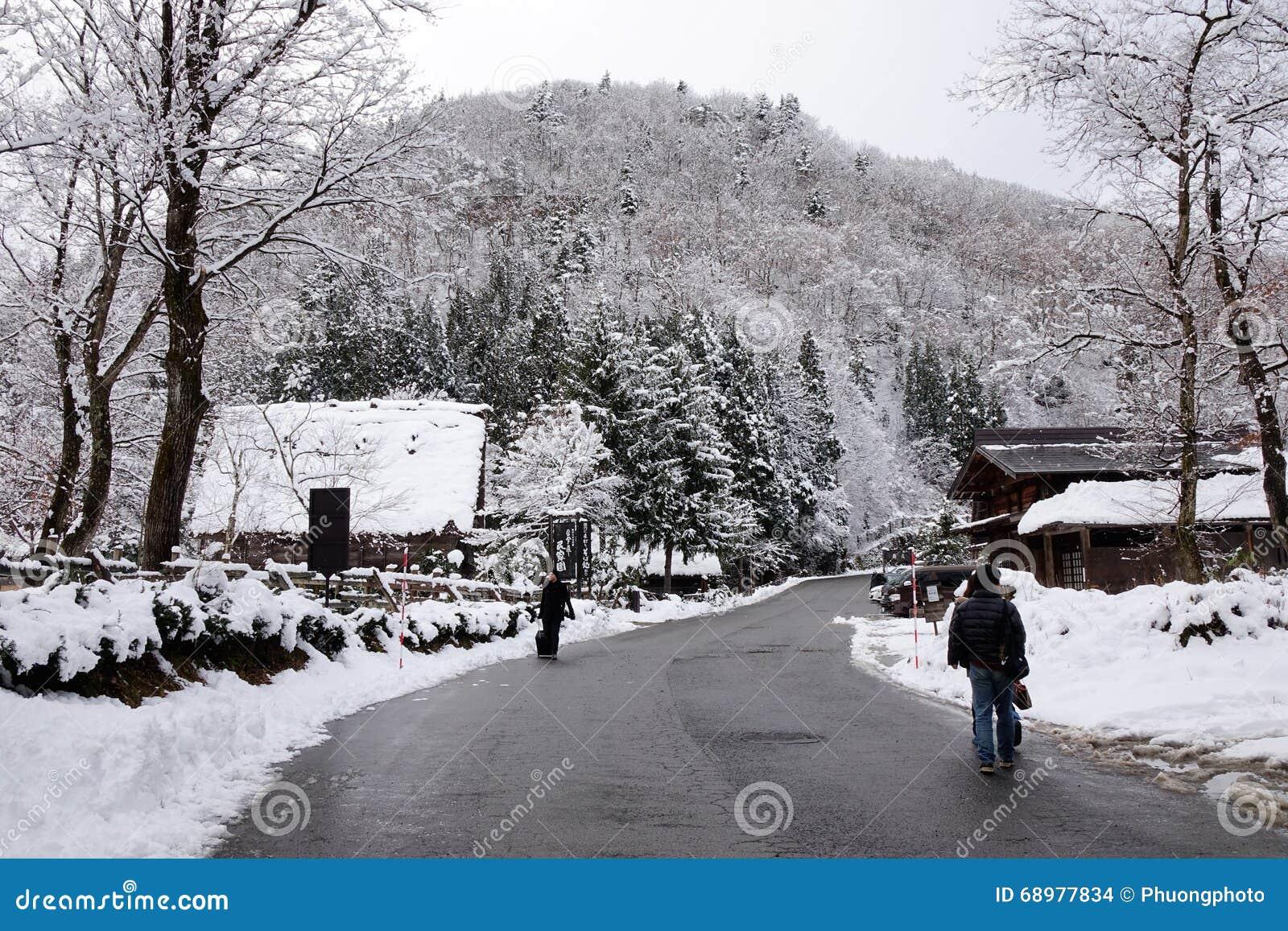 Drewniany dom przy zimą