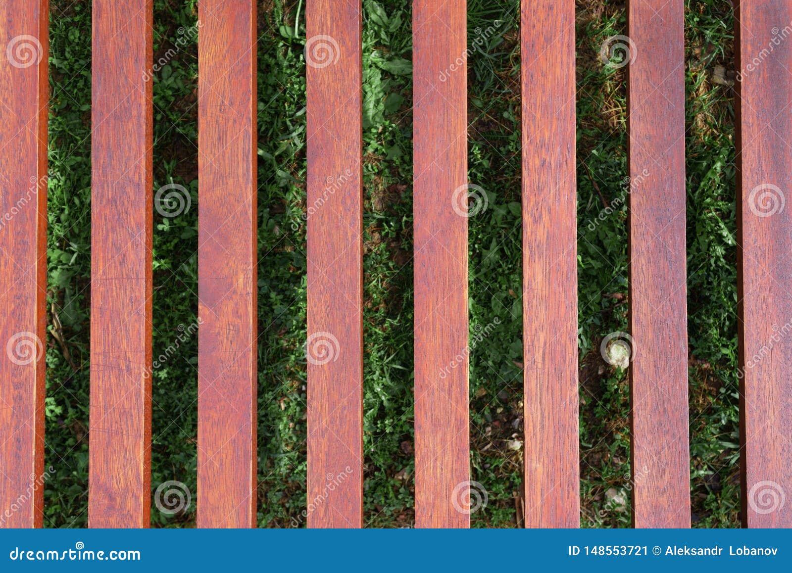 Drewniany lounger na tle zielona trawa