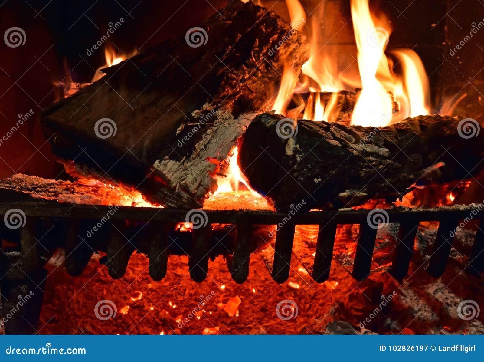 Drewniany ogień Backgroun