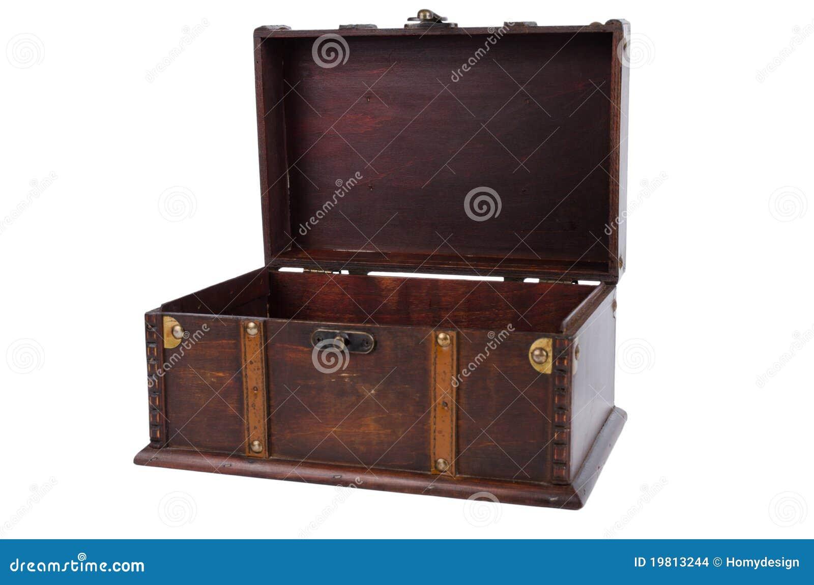 Drewniany otwarty antyka bagażnik